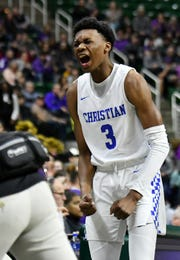 Southfield Christian guard Da'Jion Humphrey reacts after his team takes an early lead in the first half of a 63-39 win over Frankfort in the Division 4 state championship game Saturday, March, 16, 2019, at Breslin Center in East Lansing.