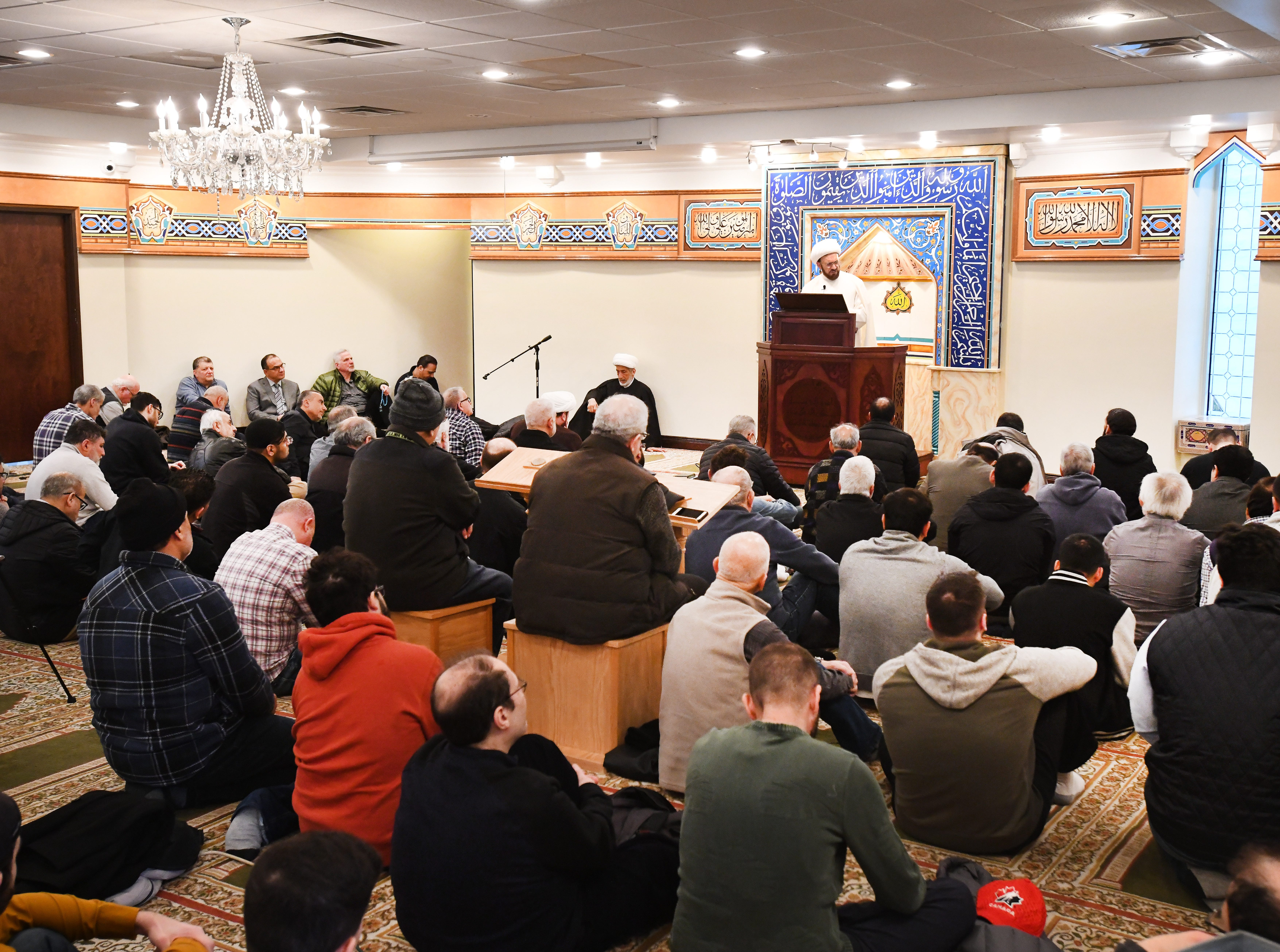 Imam Mohammad Ali Elahi talks about the New Zealand mosque massacre during a prayer service at the Islamic House of Wisdom in Dearborn Heights Friday.