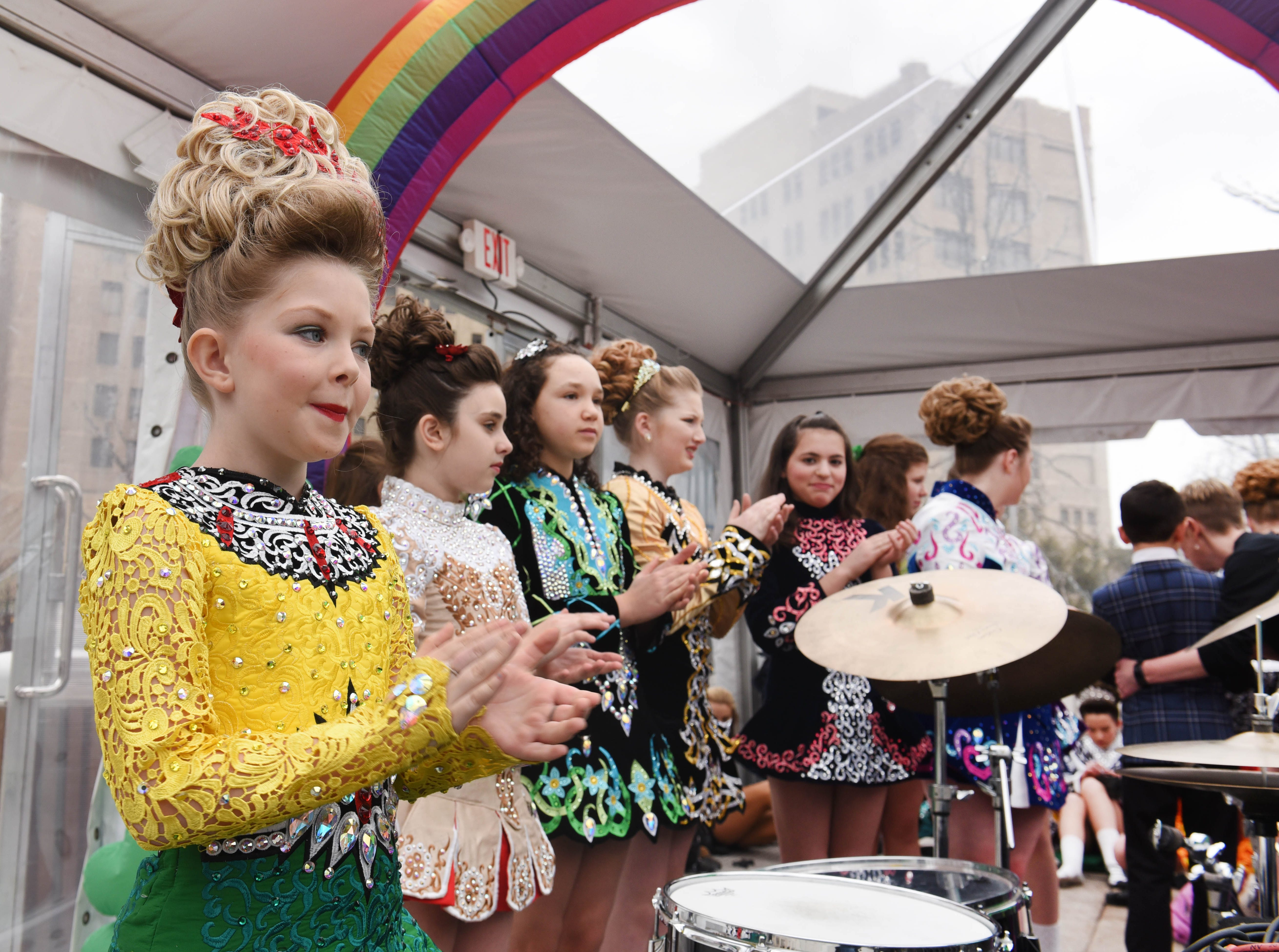 Members of the Tim O'Hare Irish Dance group wore colorful costumes at the St. Patrick's Day Party.
