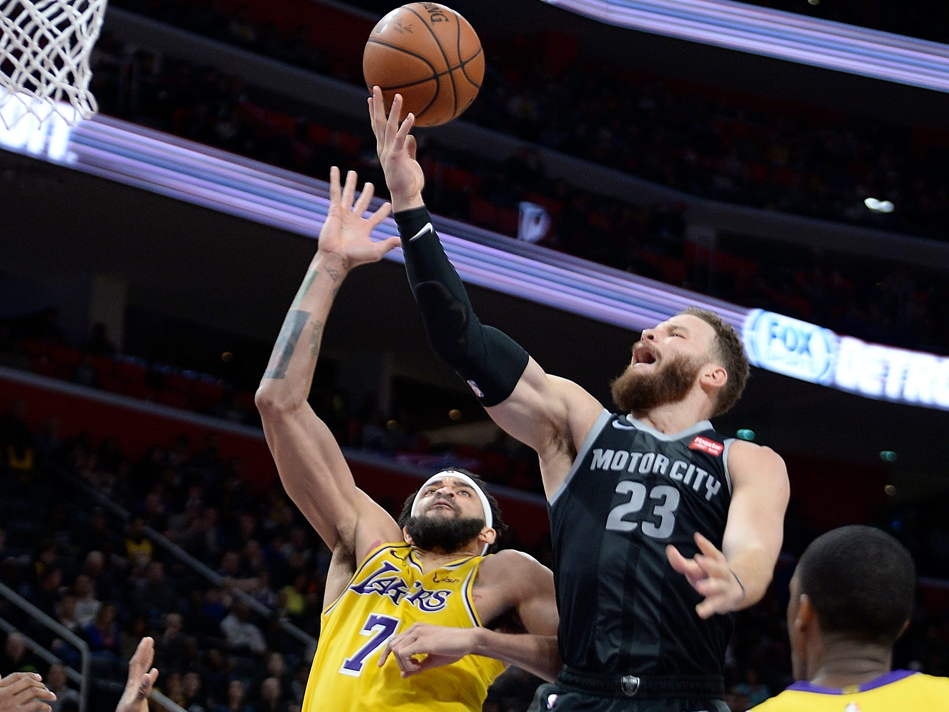Pistons' Blake Griffin has his shot blocked by Lakers' JaVale McGee in the second quarter.