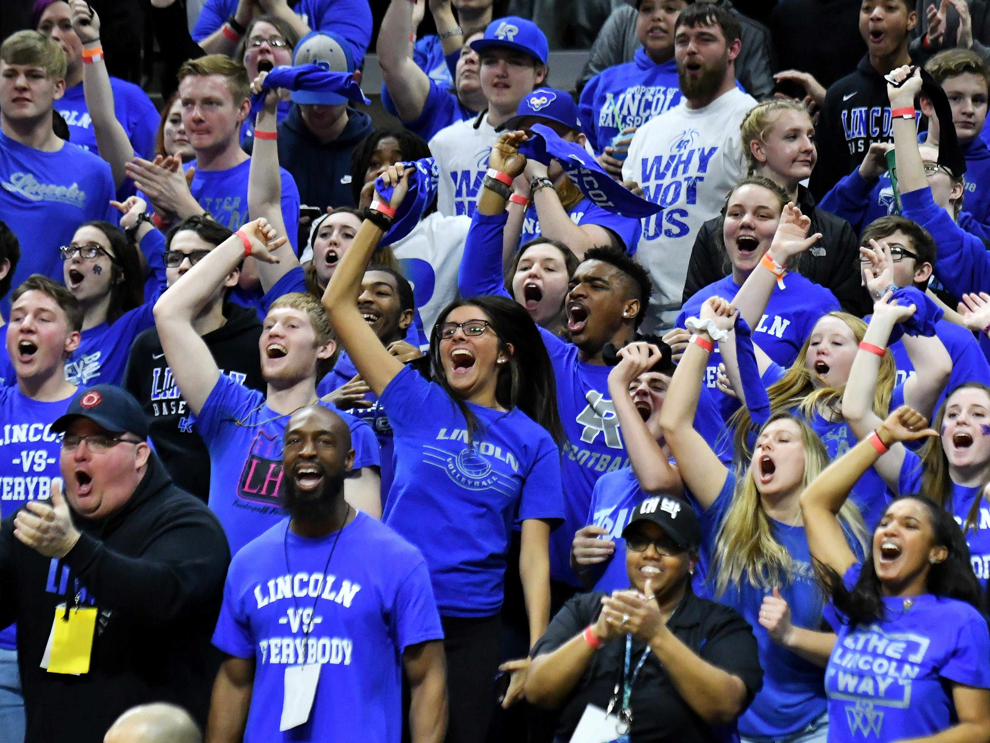 Ypsilanti Lincoln fans make some noise in the second half.