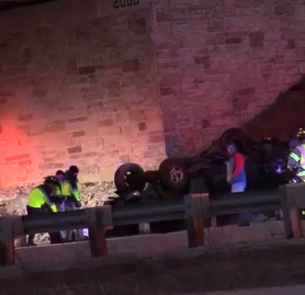 Driver hit overpass wall, rolled over in single-vehicle crash on US 151