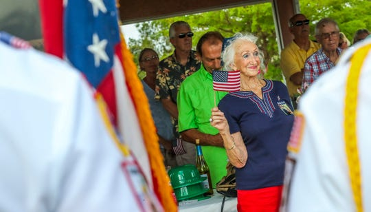 """Marvis Long, as she was honored at the neighborhood St. Patrick's Day party. North Fort Myers Friends and neighbors of Harry and Mavis Long, as well as Mark Gartley, honored them for their service and patriotism. Harry Long served in the Air Force during WWII and went on to fly for United Airlines for 30 years. Marvis Long was an original """"Rosie the Riveter"""" she helped build airplanes and even bombs that were used in WWII. Mark Gartley was a navy officer in the Vietnam War and was a POW for 4 years after being shot down in North Vietnam. The Honor Guard and Ladies Auxiliary League presented a special dedication to them."""