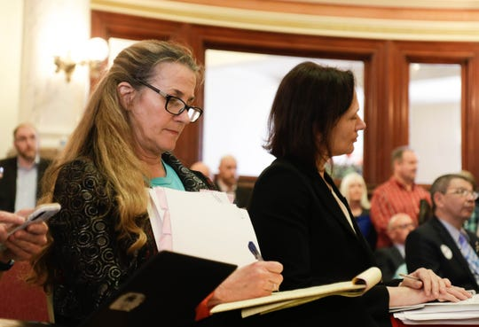 Rep. Mary Caferro, D-Helena, takes notes during Saturday's hearing on her proposal, House Bill 425.