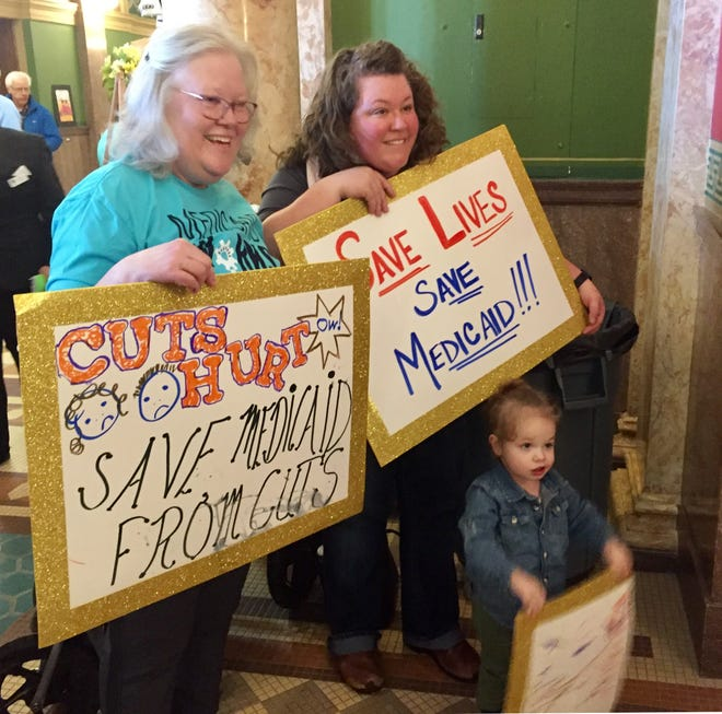 Medicaid expansion supporters attend a rally at the Capitol last month. A legislative committee has tabled a bill to continue Montana's Medicaid expansion program, but supporters planned to ask the full Senate to bring the bill to the floor for debate and a vote.