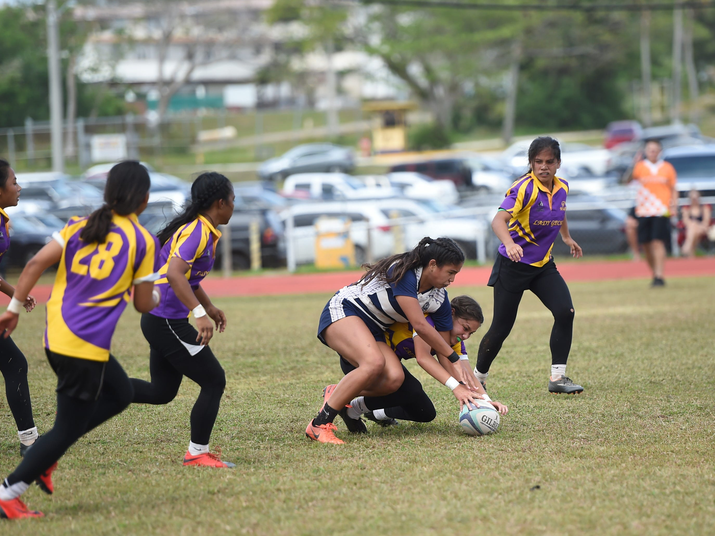 The George Washington Geckos and Notre Dame Royals battle for the GRFU/IIAAG Girls Rugby title at the GW High School Field in Mangilao, March 16, 2019. The Royals went on to beat the Geckos 21-17 for the rugby title.