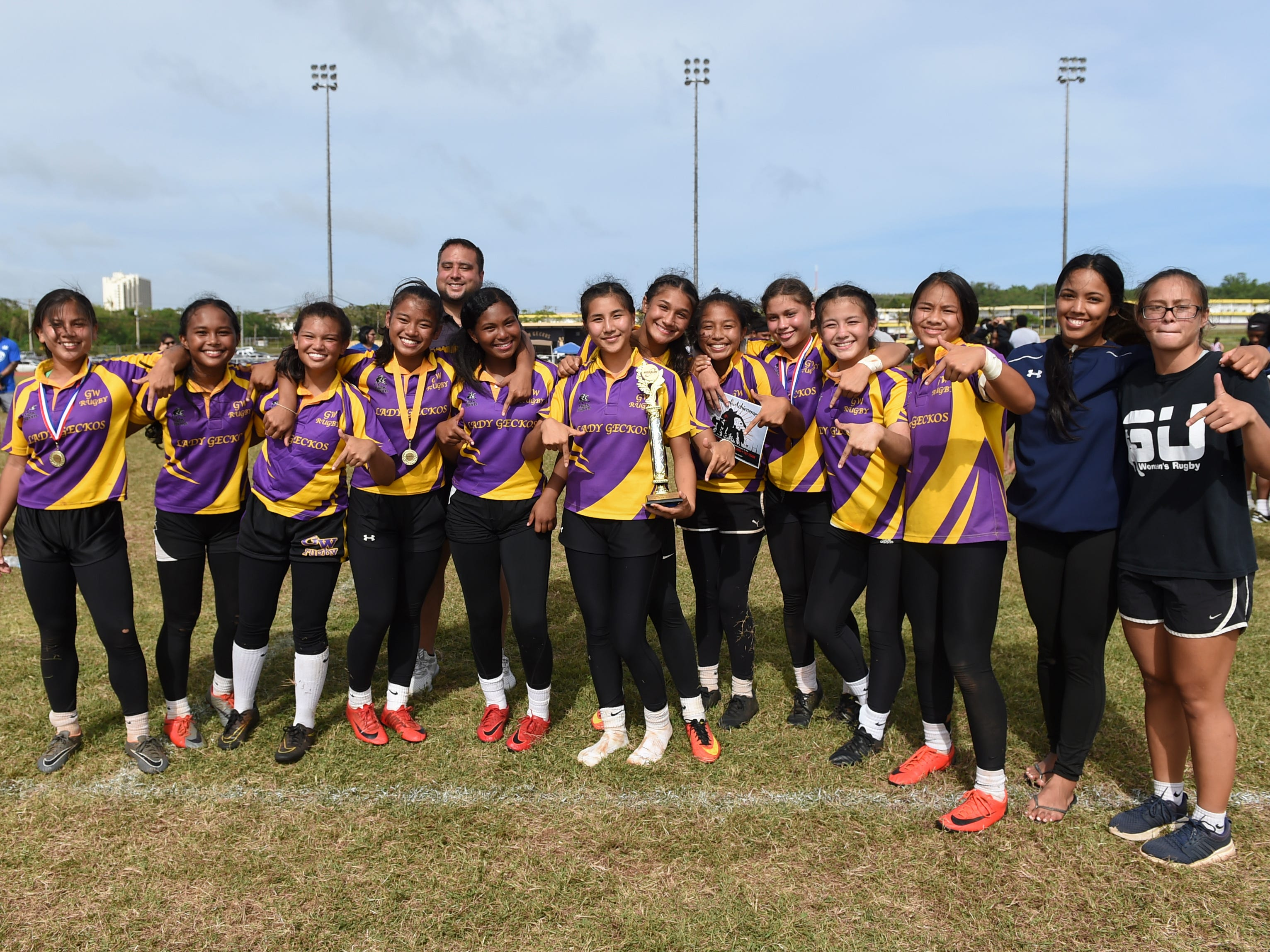 The George Washington Geckos girls rugby team at the George Washington High School Field, March 16, 2019.