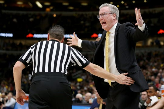 CHICAGO, ILLINOIS - MARCH 15:  Head coach Fran McCaffery of the Iowa Hawkeyes reacts in the first half against the Michigan Wolverines during the quarterfinals of the Big Ten Basketball Tournament at the United Center on March 15, 2019 in Chicago, Illinois. (Photo by Dylan Buell/Getty Images)