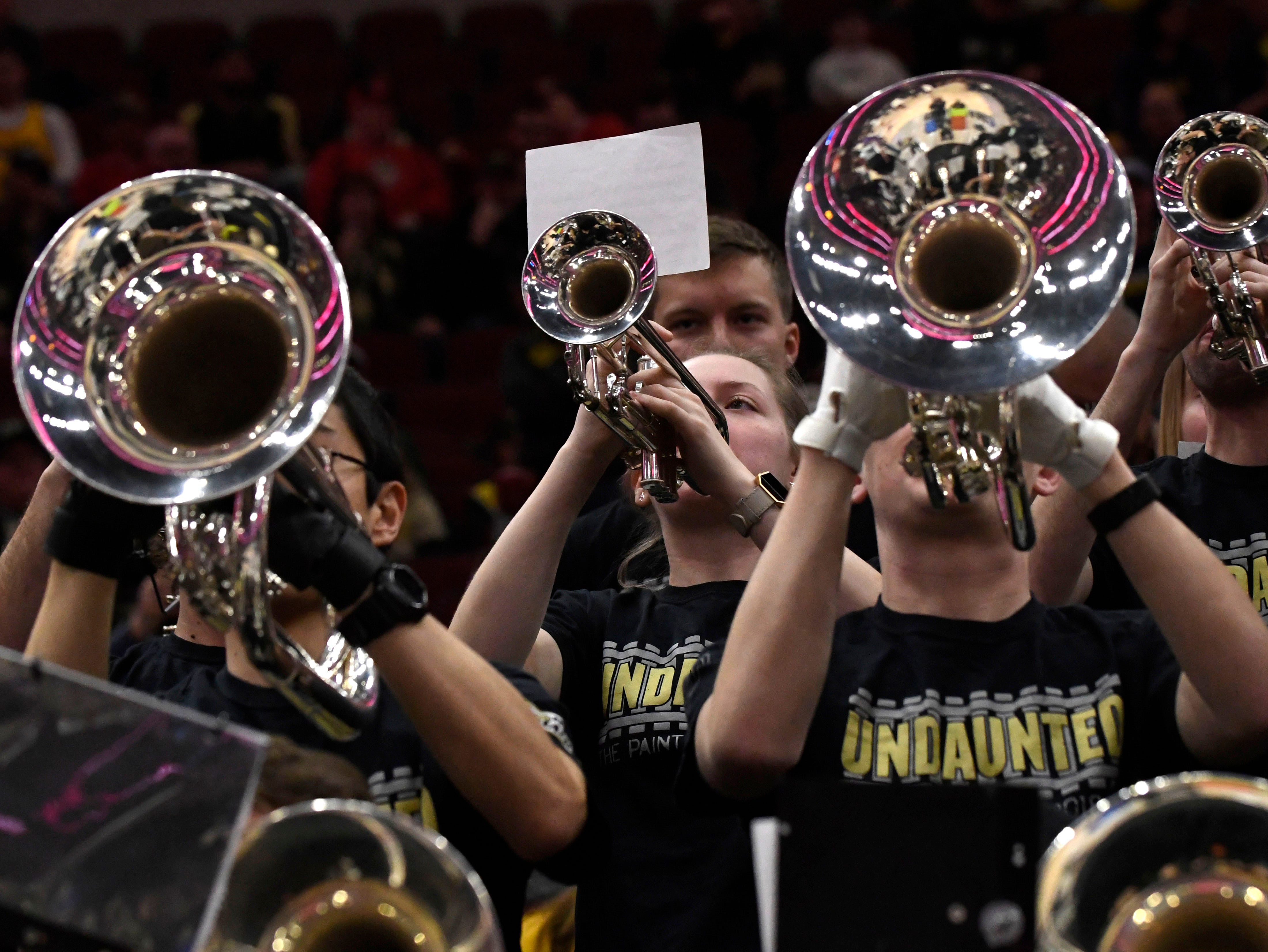 Mar 15, 2019; Chicago, IL, USA; The Purdue Boilermakers band plays during the first half in the Big Ten conference tournament against the Minnesota Golden Gophers at United Center. Mandatory Credit: David Banks-USA TODAY Sports