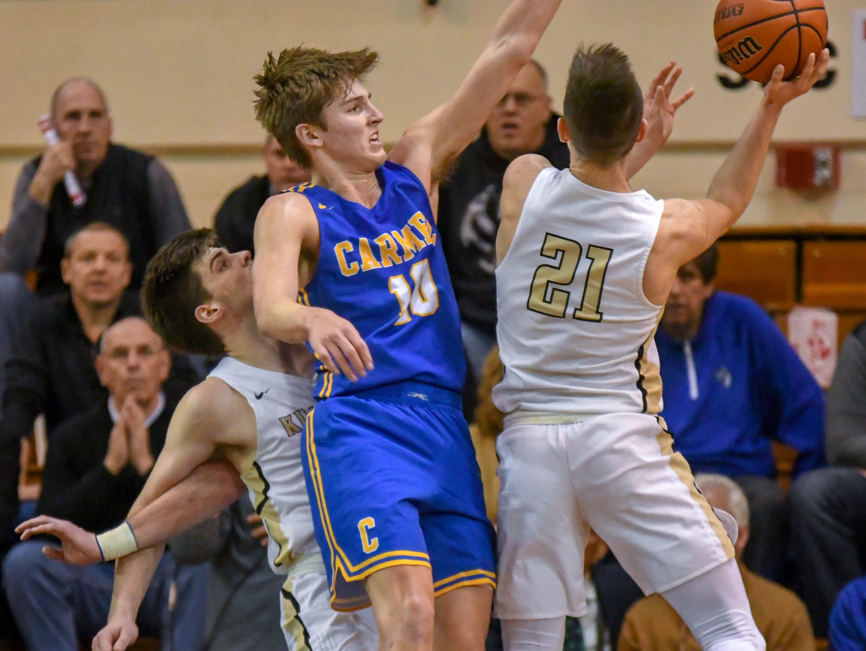 Carmel's Pete Suder during his teams 71-42 win over Penn High School in Lafayette on Saturday March 16, 2019. Carmel moves on to the state finals after winning the 4A semi-state today.