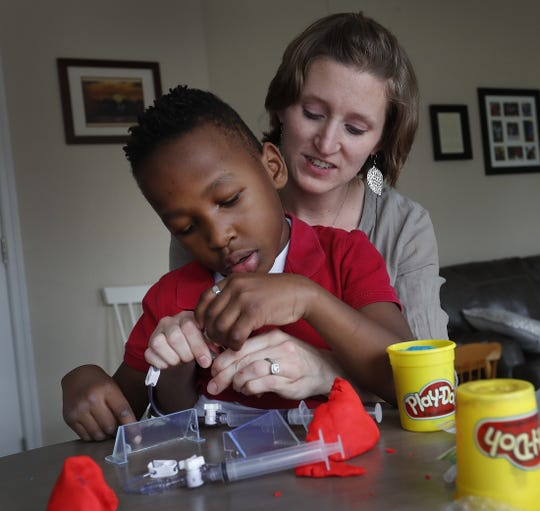 IU Health nurse Abi Huskins describes how she used Play-Doh and a cork to create a prototype of a device to help with her son's blood transfusions.