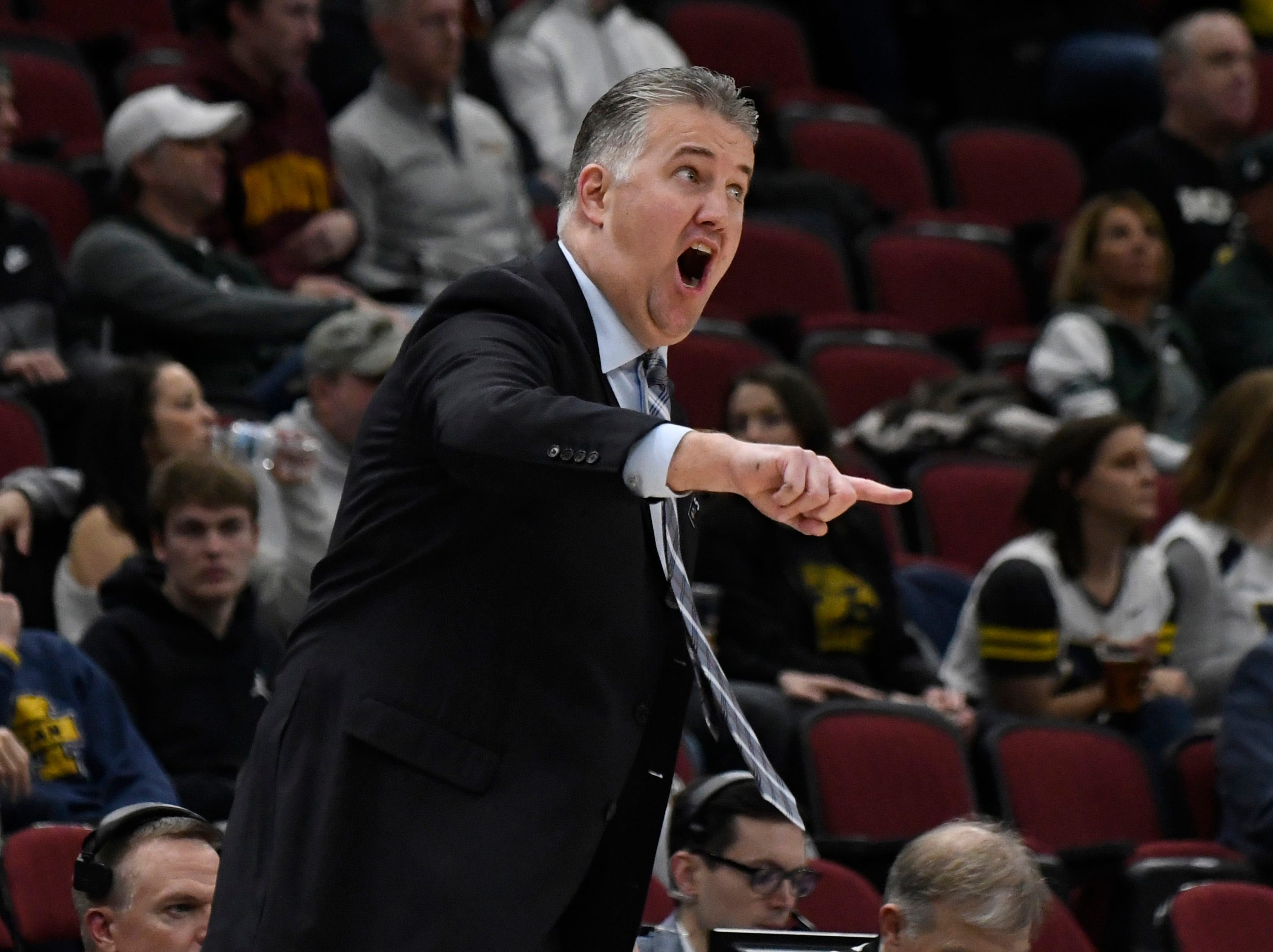 Mar 15, 2019; Chicago, IL, USA; Purdue Boilermakers head coach Matt Painter reacts during the first half in the Big Ten conference tournament at United Center. Mandatory Credit: David Banks-USA TODAY Sports
