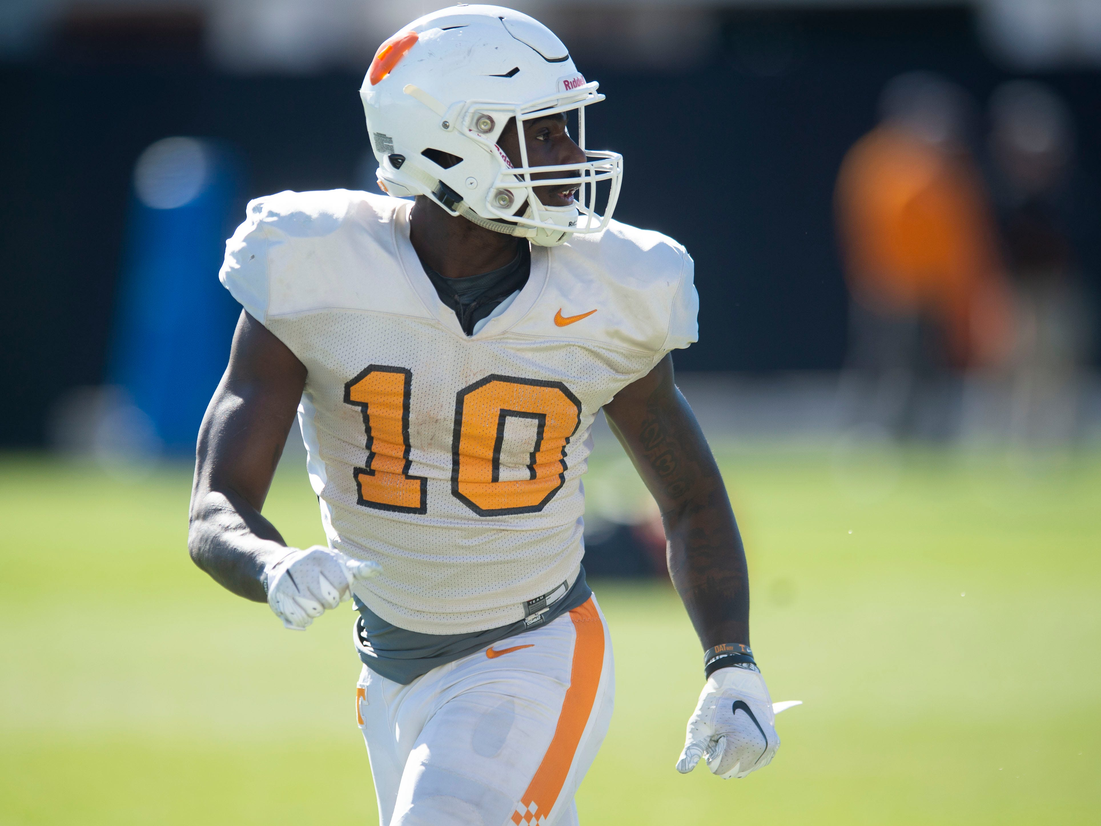 Tennessee wide receiver Tyler Byrd (10) at football practice on Friday, March 15, 2019.