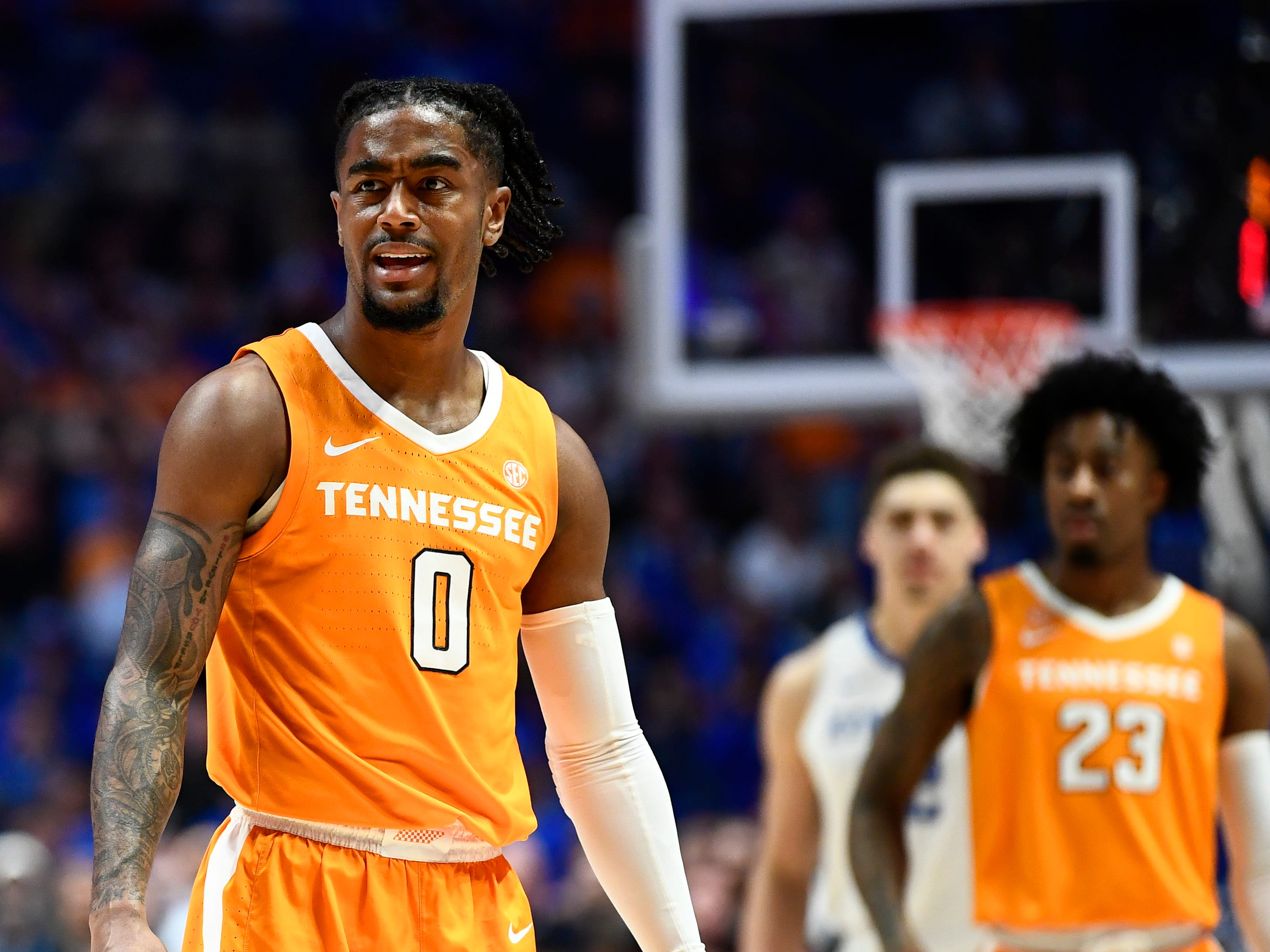 Tennessee guard Jordan Bone (0) reacts to a call made against Tennessee during the first half of the SEC Men's Basketball Tournament semifinal game against Kentucky at Bridgestone Arena in Nashville, Tenn., Saturday, March 16, 2019.