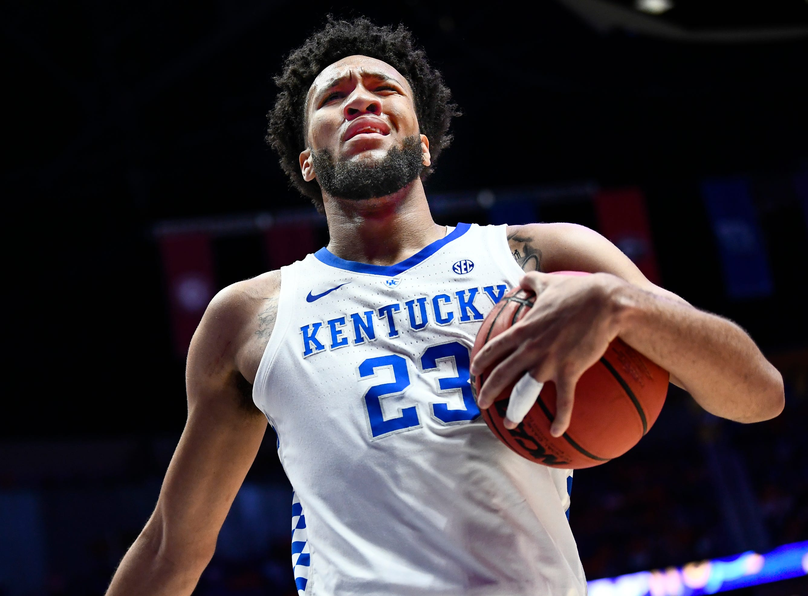 Kentucky forward EJ Montgomery (23) reacts to a foul called on Kentucky during the second half of the SEC Men's Basketball Tournament semifinal game against Tennessee at Bridgestone Arena in Nashville, Tenn., Saturday, March 16, 2019.