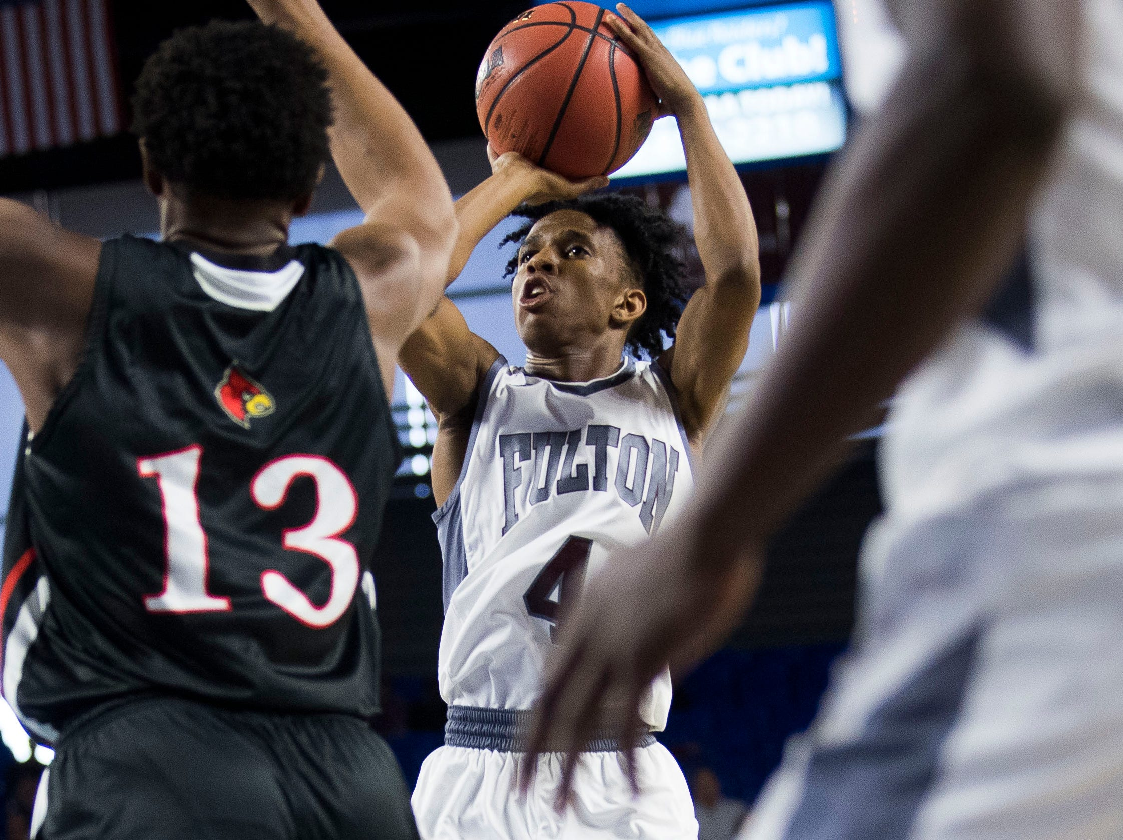 Fulton's Edward Lacy (4) takes a shot during a TSSAA AA state championship game between Wooddale and Fulton at the Murphy Center in Murfreesboro, Saturday, March 16, 2019.