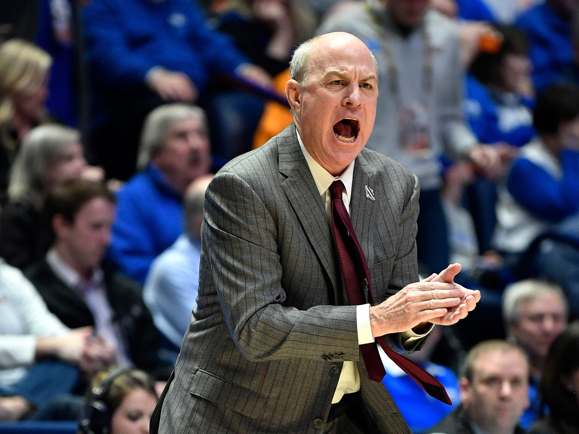 Mississippi State head coach Ben Howland yells to his team during the first half of the SEC Men's Basketball Tournament game against Tennessee at Bridgestone Arena in Nashville, Tenn., Friday, March 15, 2019.