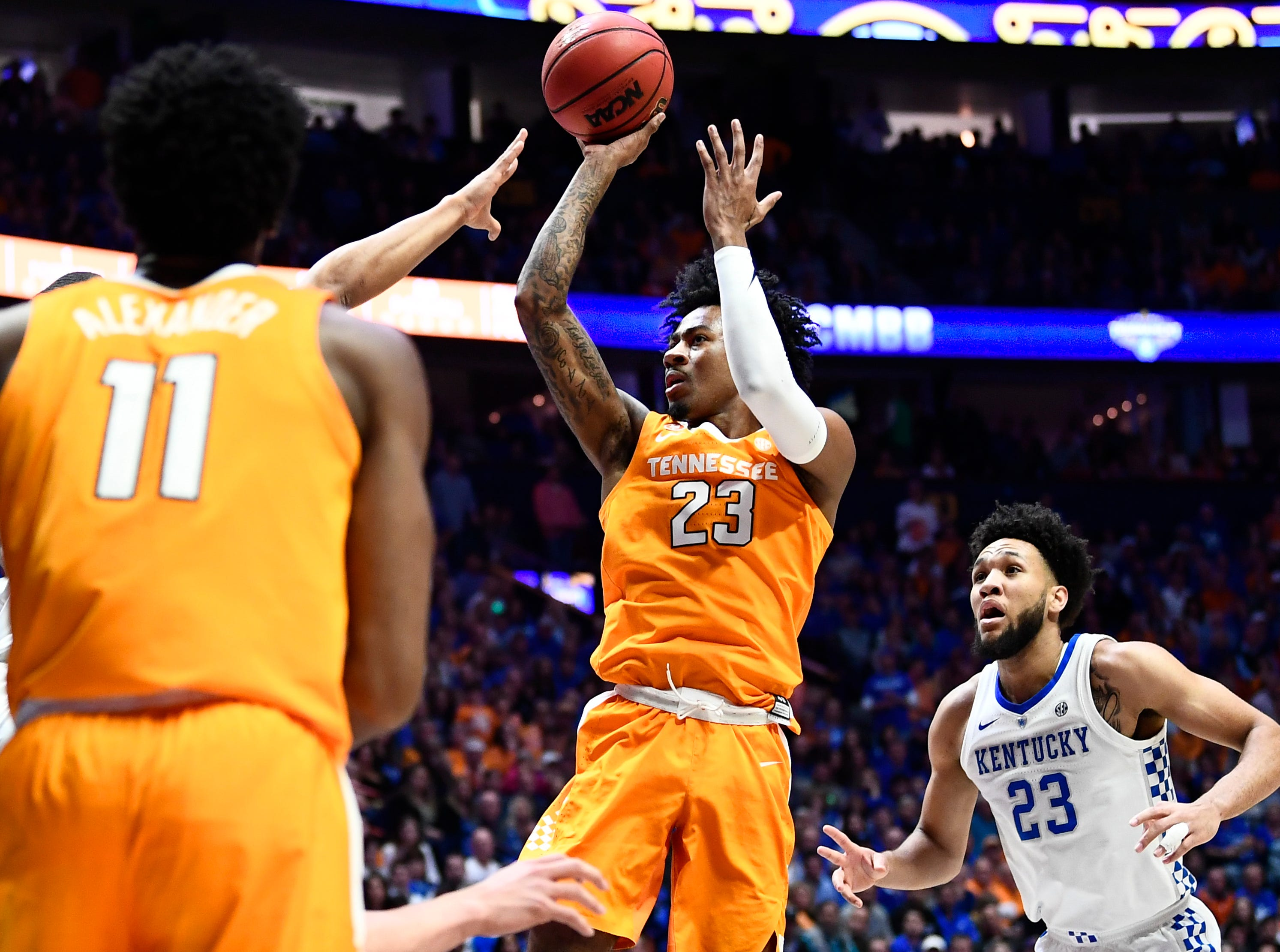 Tennessee guard Jordan Bowden (23) shoots against Kentucky during the first half of the SEC Men's Basketball Tournament semifinal game at Bridgestone Arena in Nashville, Tenn., Saturday, March 16, 2019.