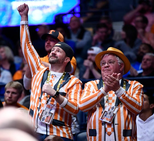 Tennessee fans cheer during the second half of the SEC Men's Basketball Tournament game against Mississippi State at Bridgestone Arena in Nashville, Tenn., Friday, March 15, 2019.