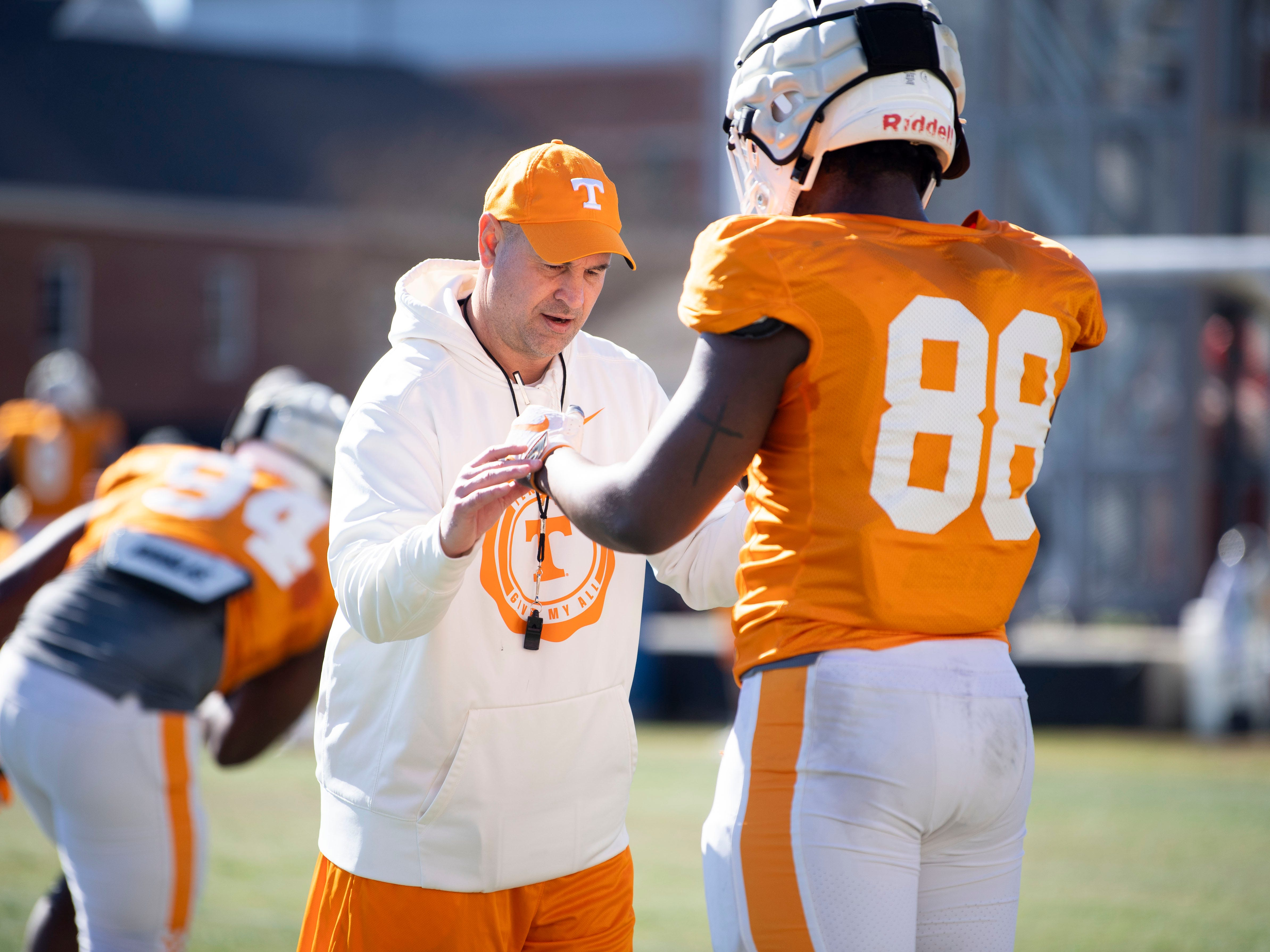 Tennessee football coach Jeremy Pruitt with defensive lineman LaTrell Bumphus (88) at practice on Friday, March 15, 2019.
