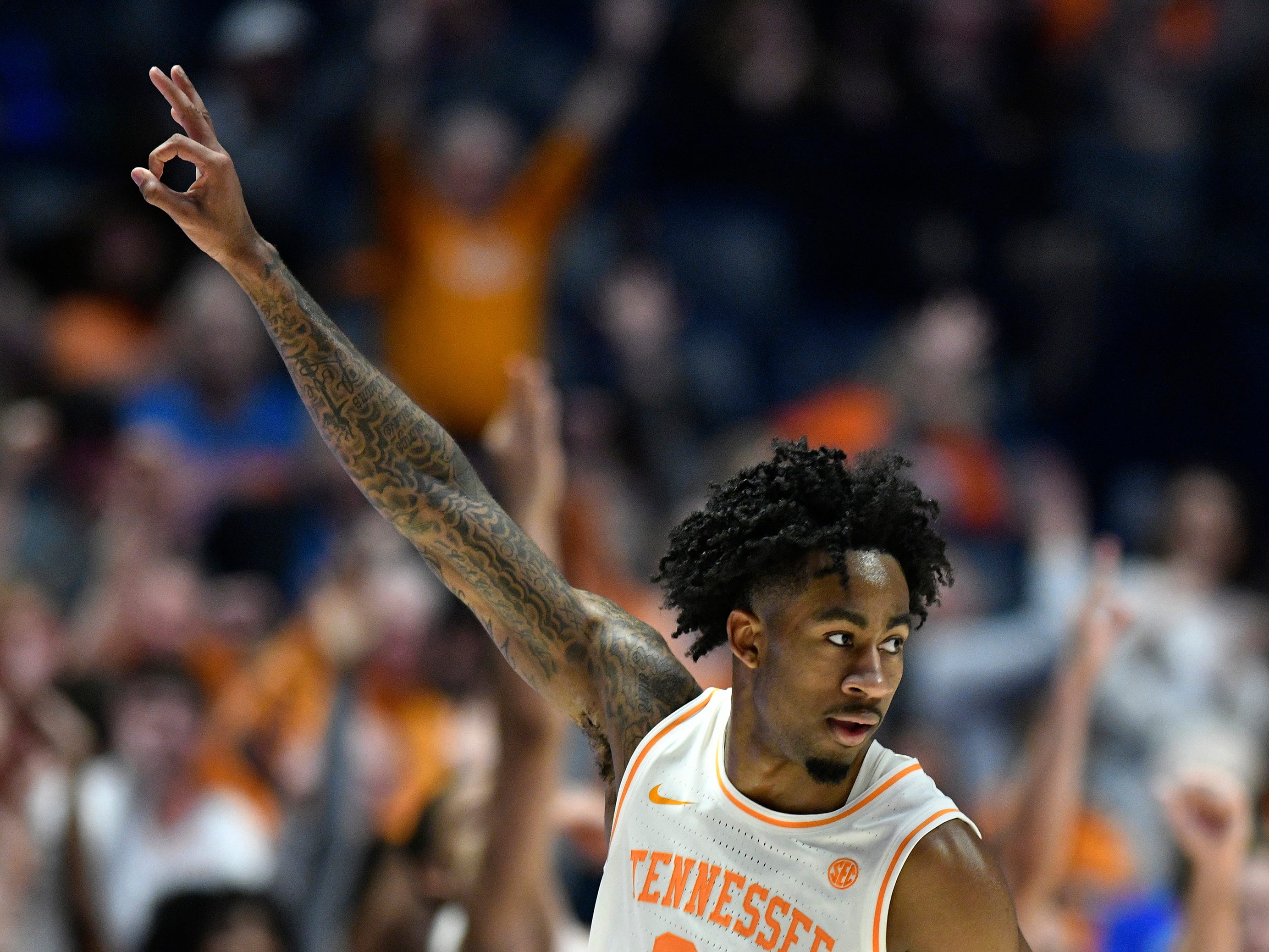 Tennessee guard Jordan Bowden (23) celebrates his three-pointer during the second half of the SEC Men's Basketball Tournament game against Mississippi State at Bridgestone Arena in Nashville, Tenn., Friday, March 15, 2019.