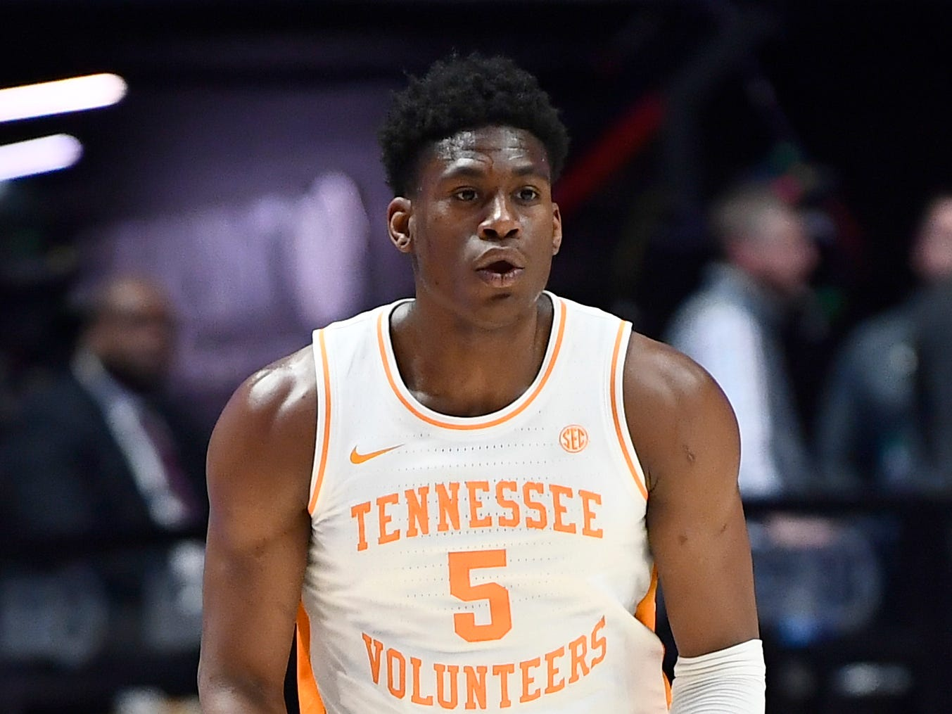 Tennessee guard Admiral Schofield (5) celebrates his three pointer during the first half of the SEC Men's Basketball Tournament game against Mississippi State at Bridgestone Arena in Nashville, Tenn., Friday, March 15, 2019.