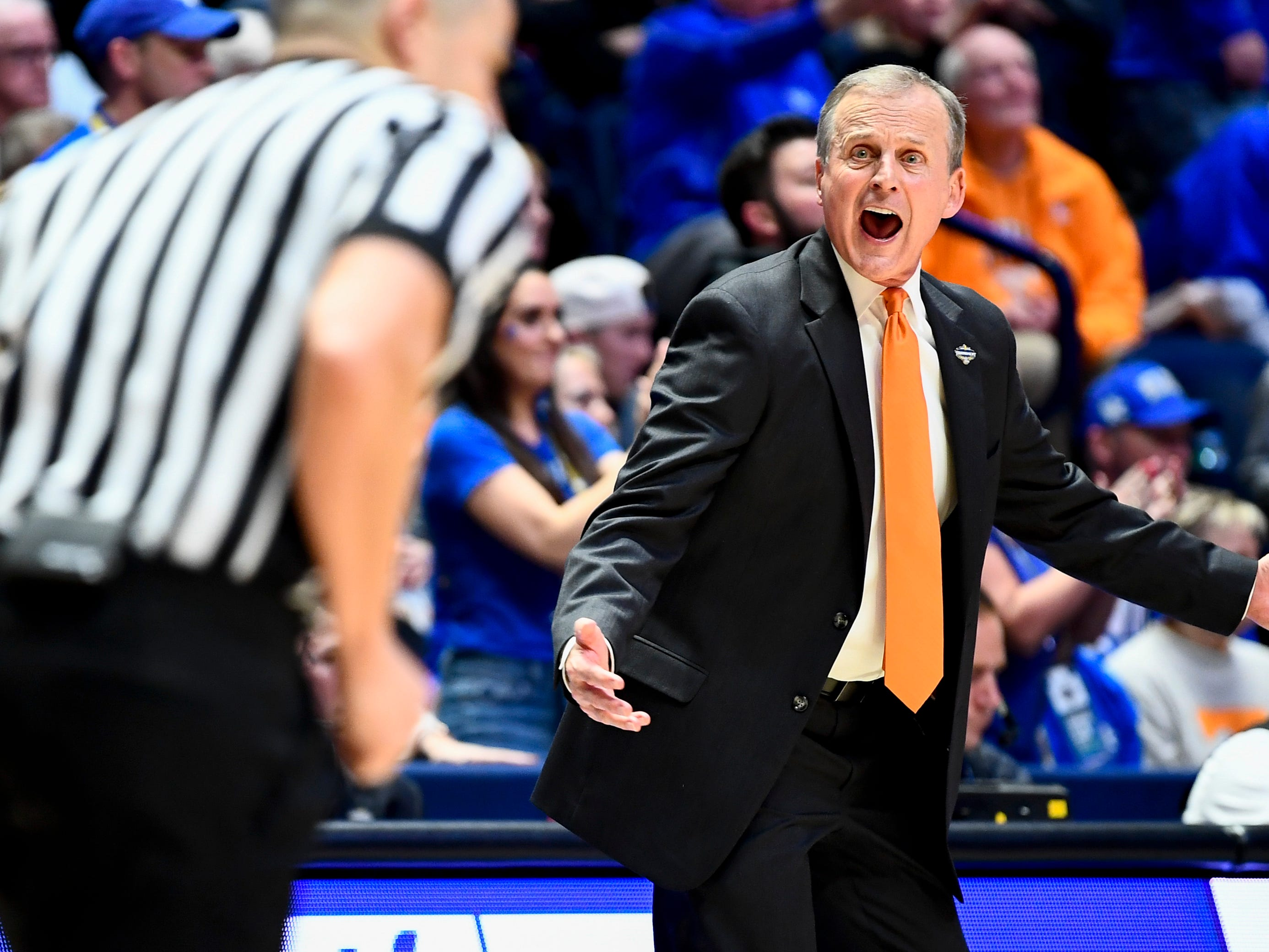 Tennessee head coach Rick Barnes reacts during the second half of the SEC Men's Basketball Tournament semifinal game against Kentucky at Bridgestone Arena in Nashville, Tenn., Saturday, March 16, 2019.