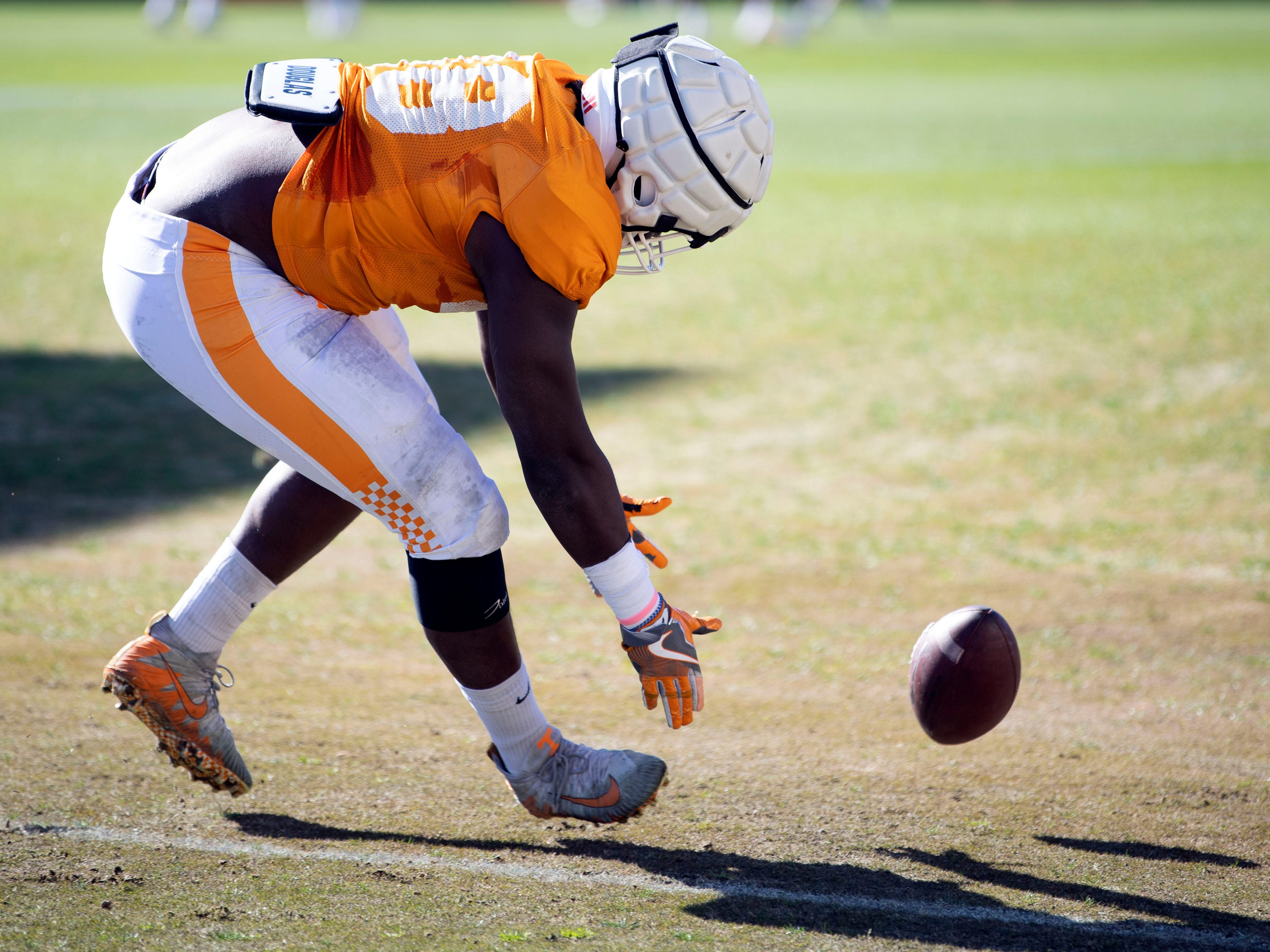 Tennessee defensive lineman Ja'Quain Blakely (48) at football practice on Friday, March 15, 2019.