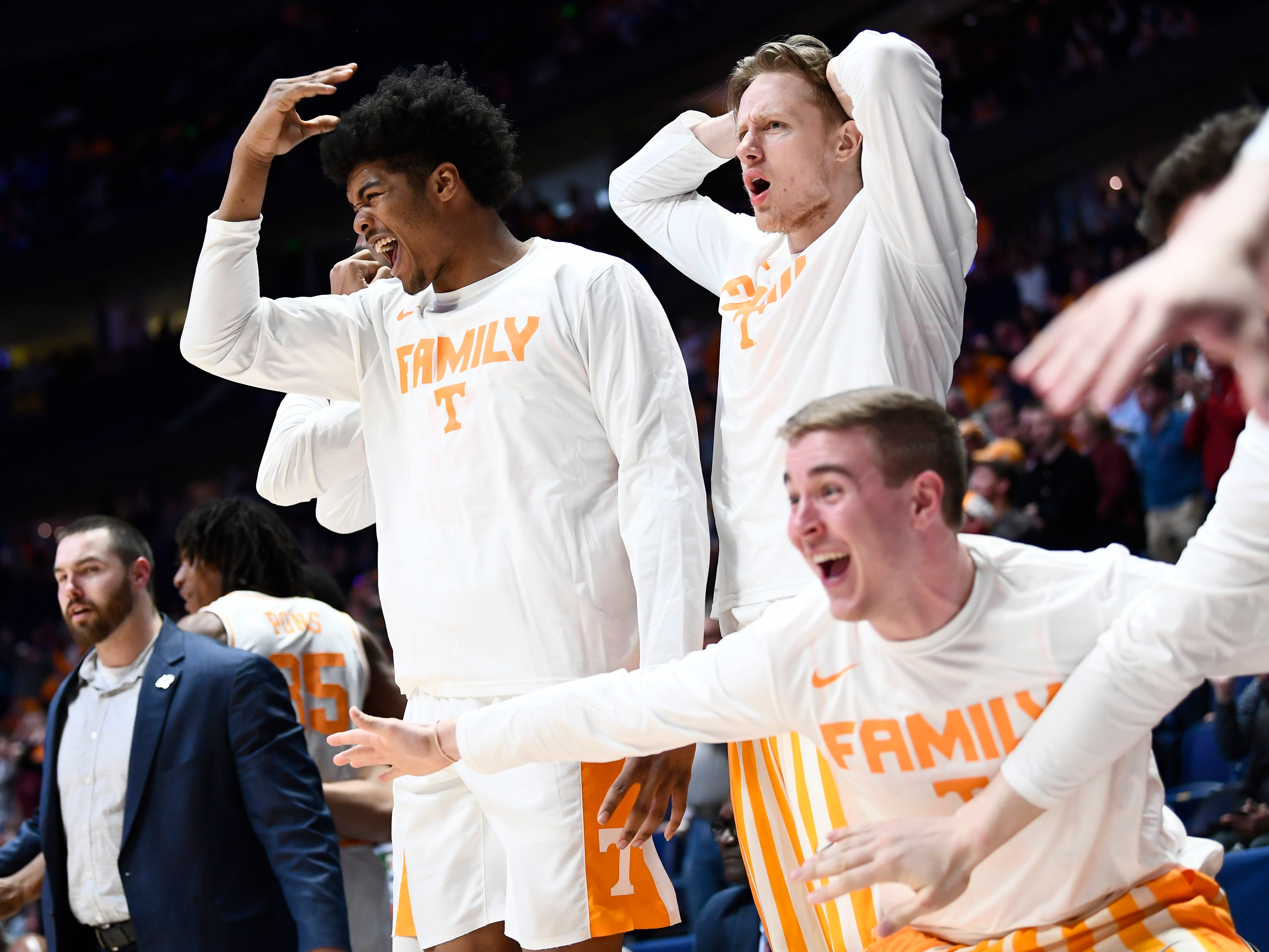 UT players react to a dunk by Tennessee guard Admiral Schofield (5) during the second half of the SEC Men's Basketball Tournament game against Mississippi State at Bridgestone Arena in Nashville, Tenn., Friday, March 15, 2019.