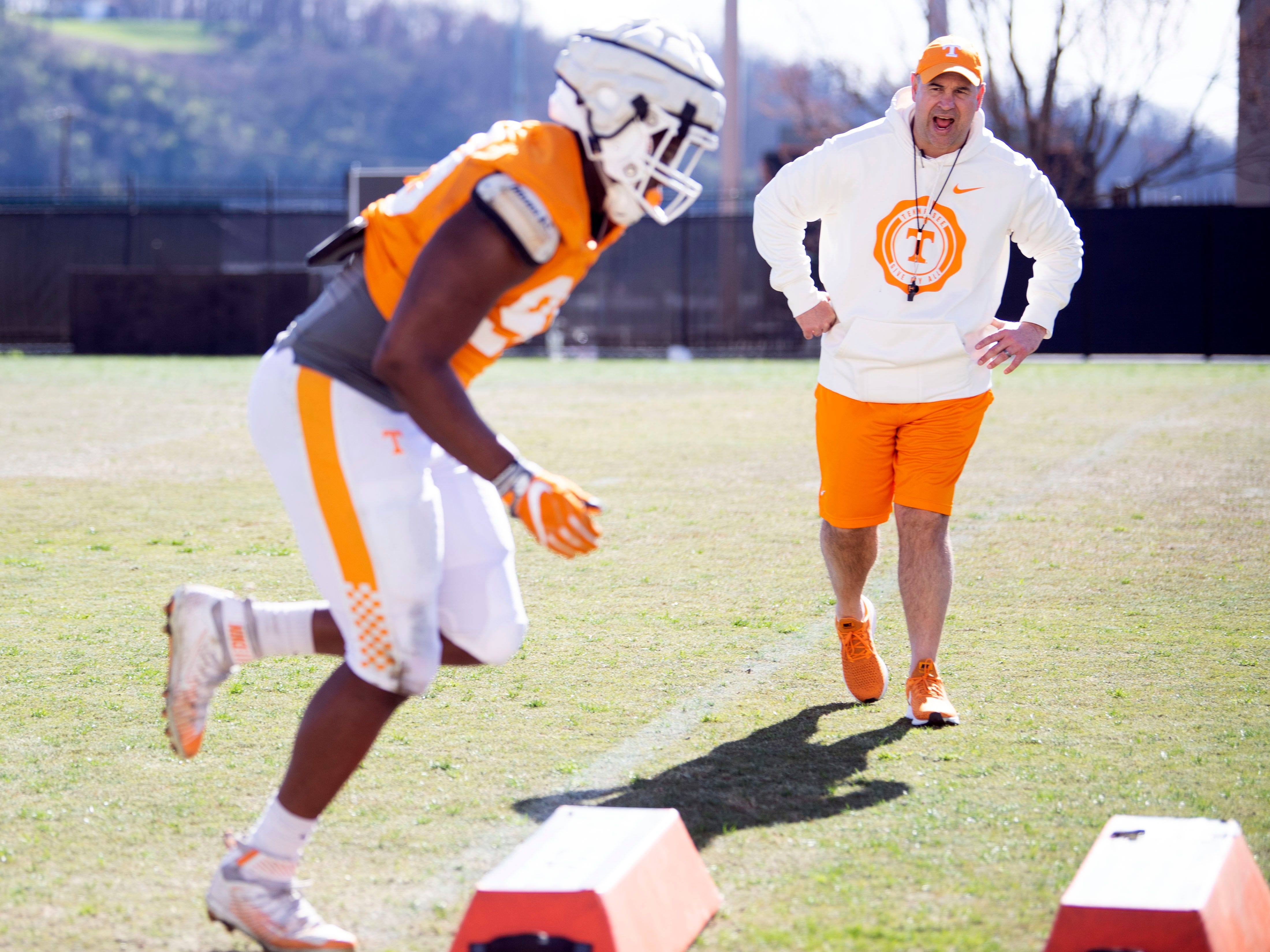 Tennessee football coach Jeremy Pruitt with the defensive linemen practice on Friday, March 15, 2019.