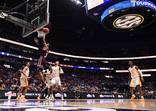 Mississippi State guard Lamar Peters (2) goes to the basket during the first half of the SEC Men's Basketball Tournament game against Tennessee at Bridgestone Arena in Nashville, Tenn., Friday, March 15, 2019.