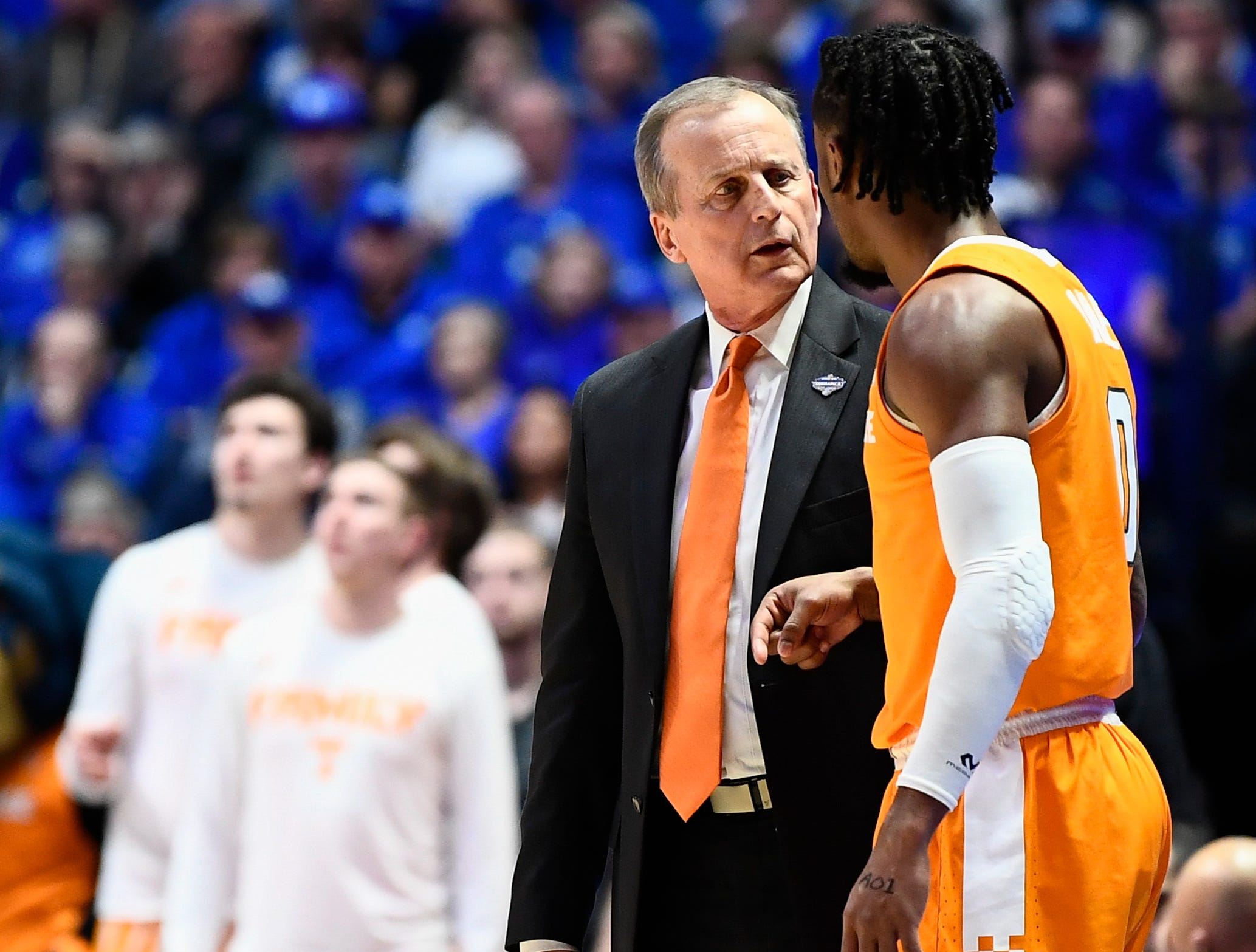 Tennessee head coach Rick Barnes speaks with guard Jordan Bone (0) during the first half of the SEC Men's Basketball Tournament semifinal game against Kentucky at Bridgestone Arena in Nashville, Tenn., Saturday, March 16, 2019.