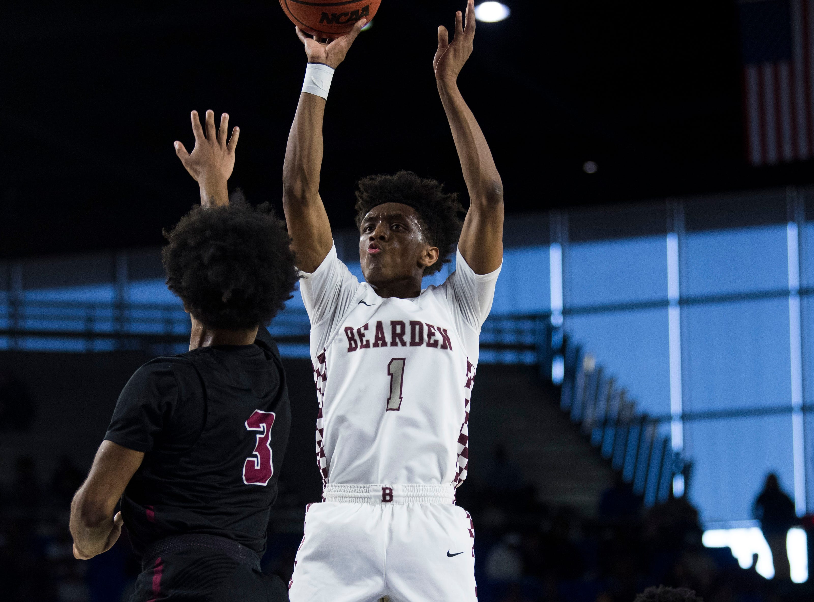 Bearden's Trent Stephney (1) takes a shot during a TSSAA AAA state championship game between Bearden and Memphis East at the Murphy Center in Murfreesboro, Saturday, March 16, 2019.