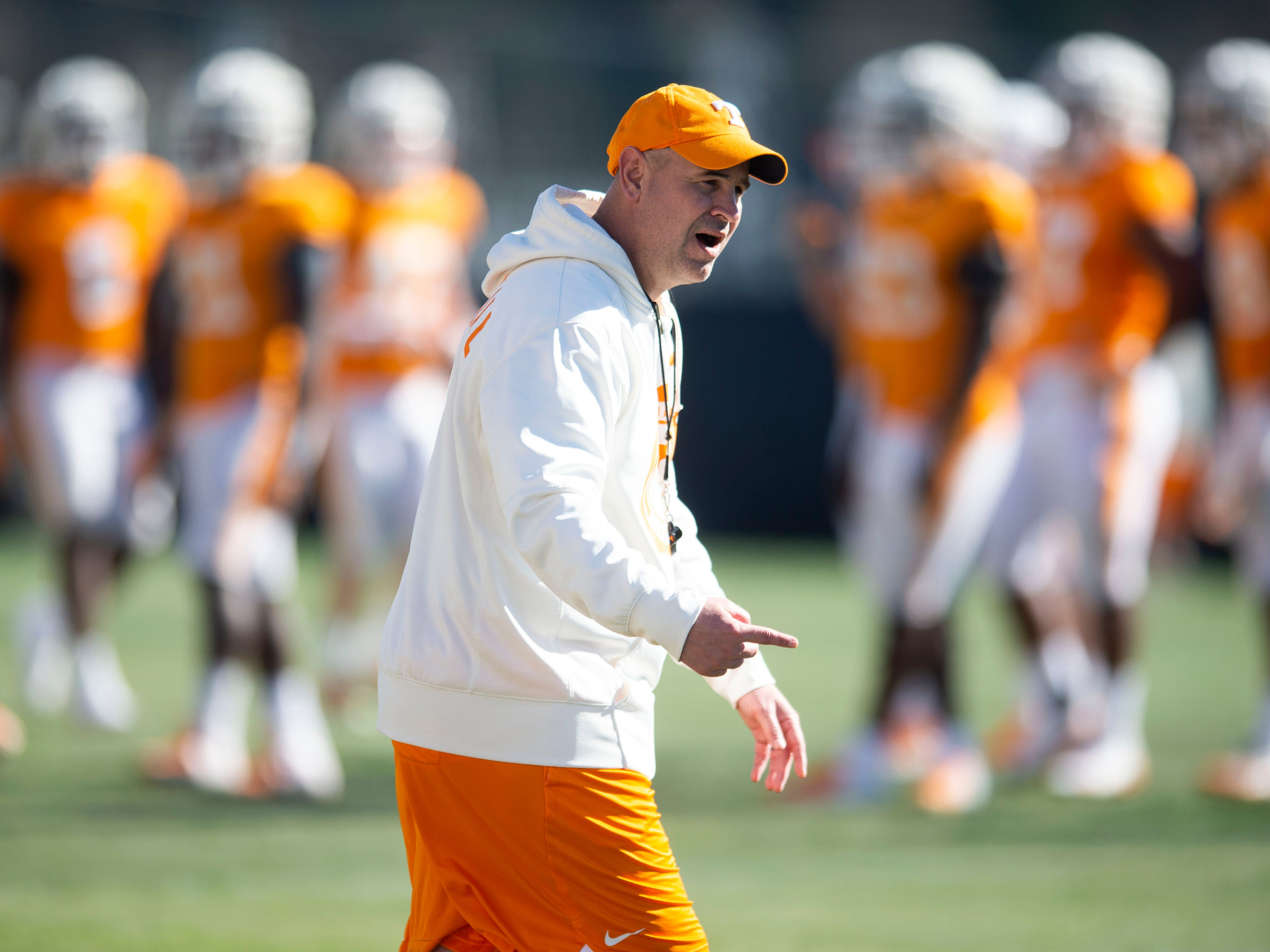 Tennessee head coach Jeremy Pruitt during football practice on Friday, March 15, 2019.