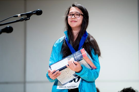 Selena Wheeler wins the News Sentinel Southern Appalachia Regional Spelling Bee at Alumni Memorial Hall in Knoxville, Tennessee on Saturday, March 16, 2019.