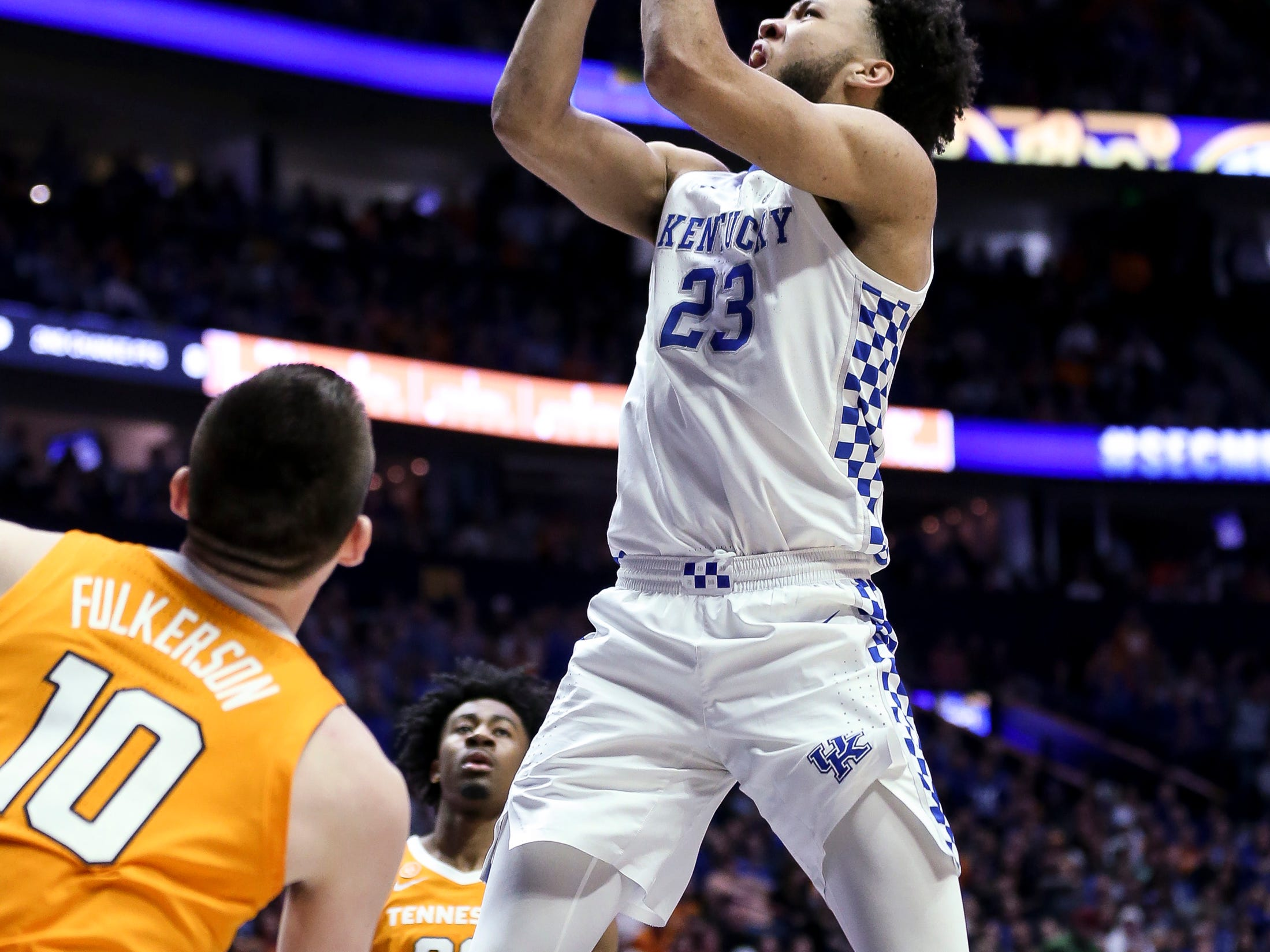 Kentucky forward EJ Montgomery (23) shoots against Tennessee during the second half of the SEC Men's Basketball Tournament semifinal game at Bridgestone Arena in Nashville, Tenn., Saturday, March 16, 2019.