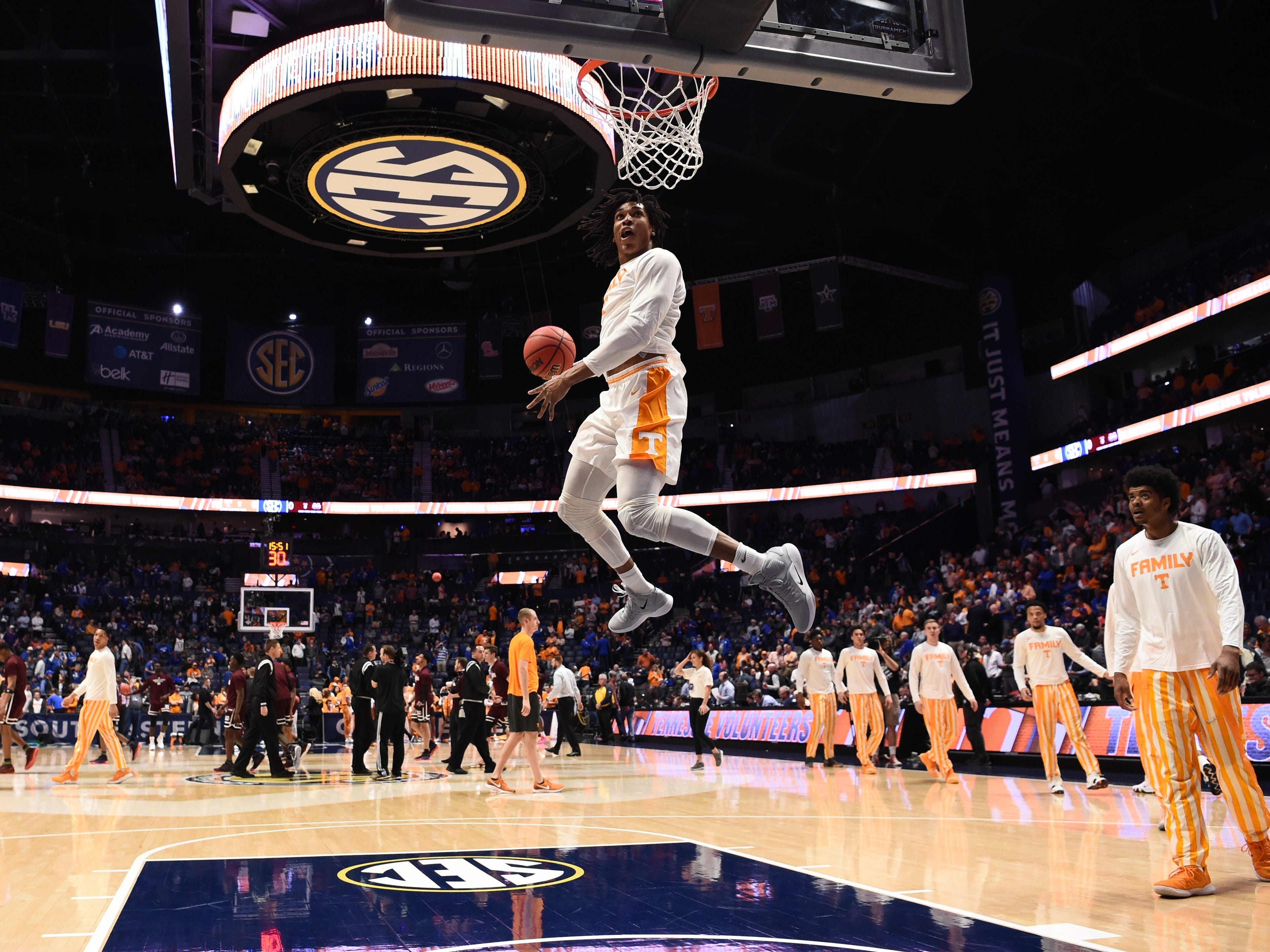 UT players warm up before the SEC Men's Basketball Tournament game against Mississippi State at Bridgestone Arena in Nashville, Tenn., Friday, March 15, 2019.