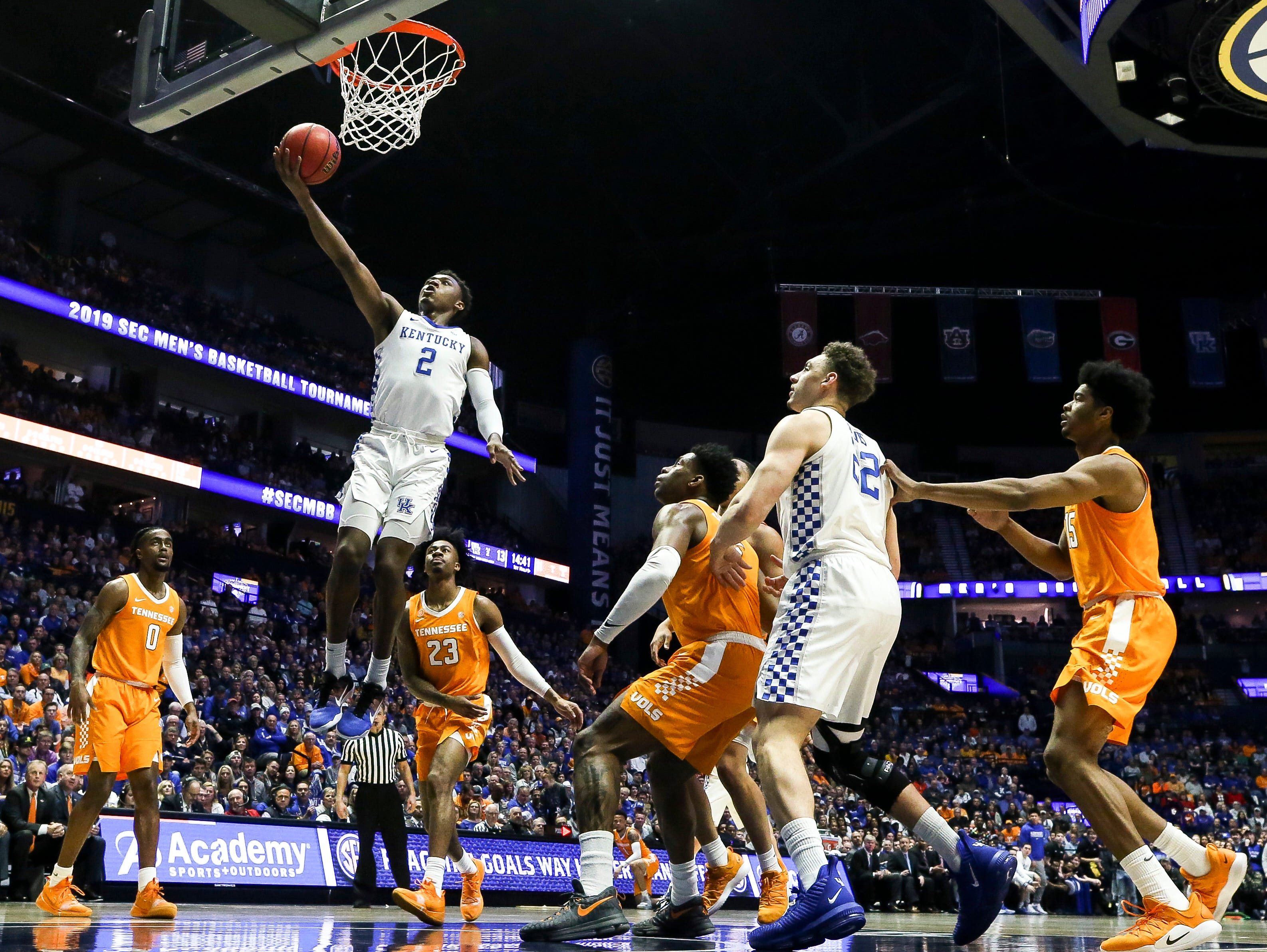 Kentucky guard Ashton Hagans (2) shoots against Tennessee during the first half of the SEC Men's Basketball Tournament semifinal game at Bridgestone Arena in Nashville, Tenn., Saturday, March 16, 2019.