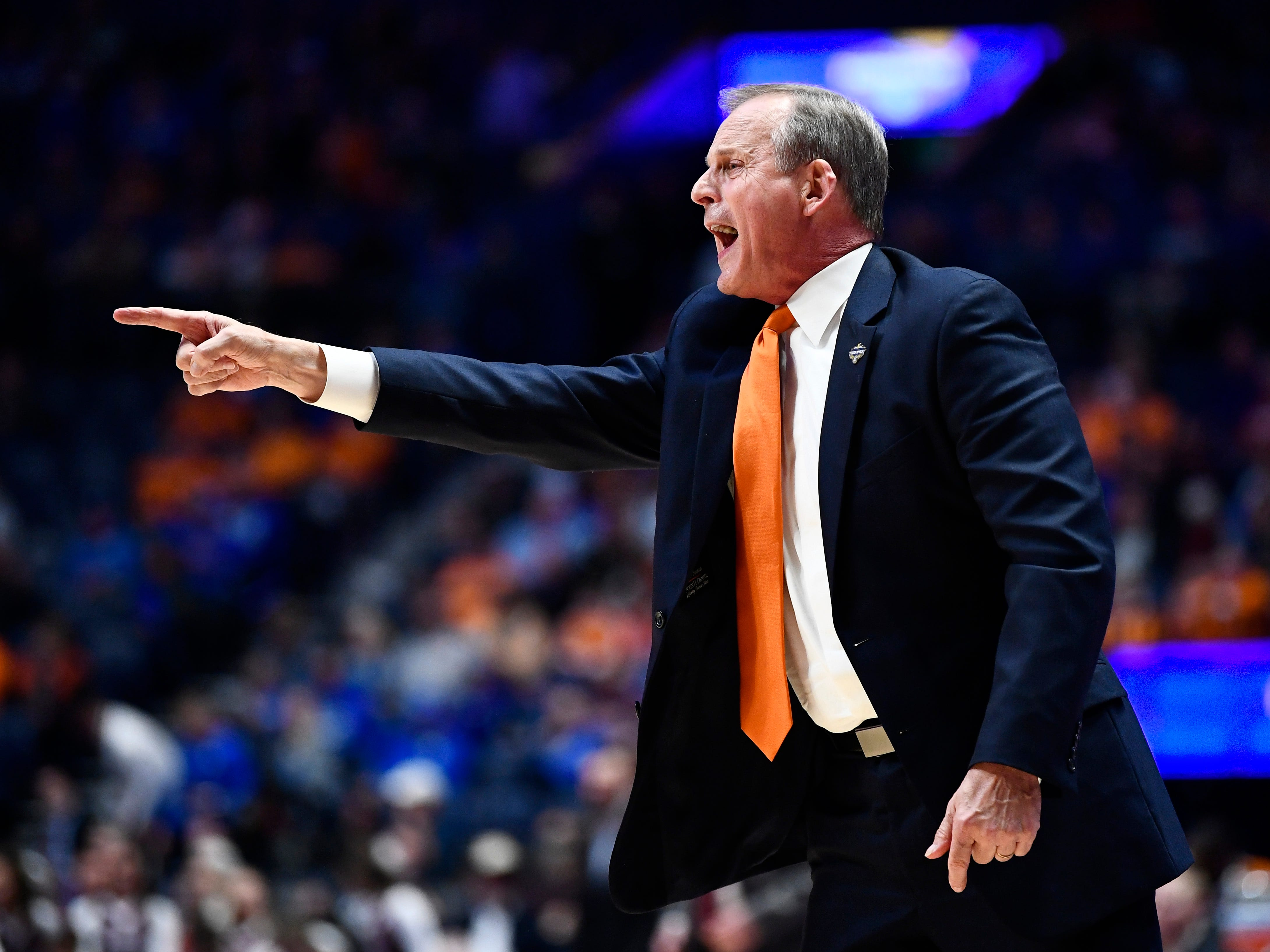 Tennessee head coach Rick Barnes yells to his team during the first half of the SEC Men's Basketball Tournament game against Mississippi State at Bridgestone Arena in Nashville, Tenn., Friday, March 15, 2019.
