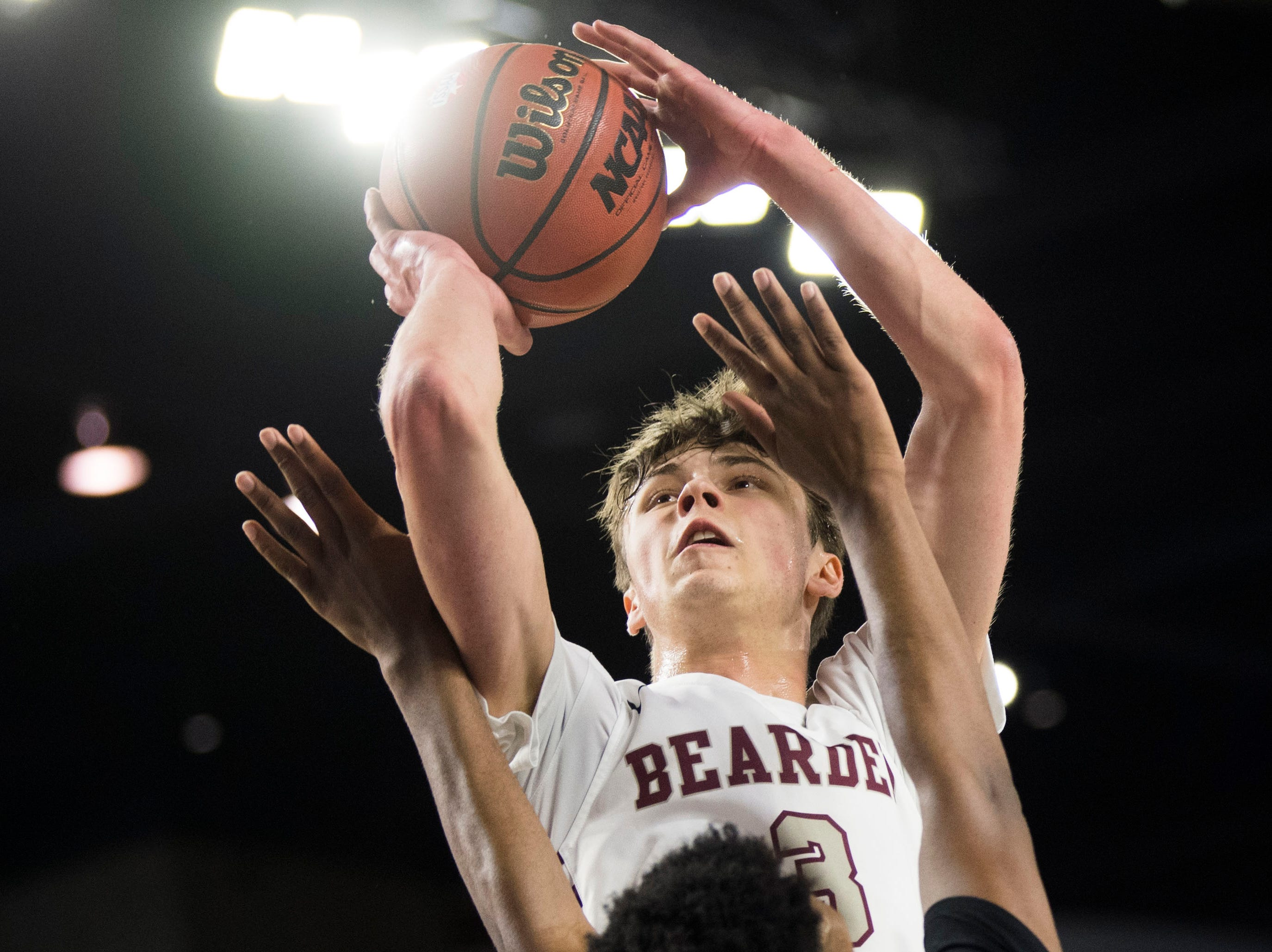 Bearden's Drew Pember (3) takes a shot during a TSSAA AAA state championship game between Bearden and Memphis East at the Murphy Center in Murfreesboro, Saturday, March 16, 2019.