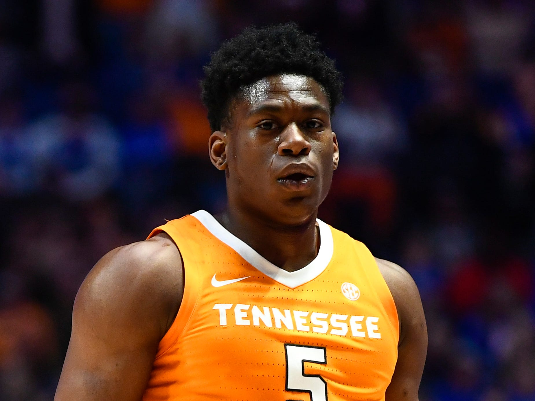 Tennessee guard Admiral Schofield (5) celebrates his three-pointer against Kentucky during the first half of the SEC Men's Basketball Tournament semifinal game at Bridgestone Arena in Nashville, Tenn., Saturday, March 16, 2019.