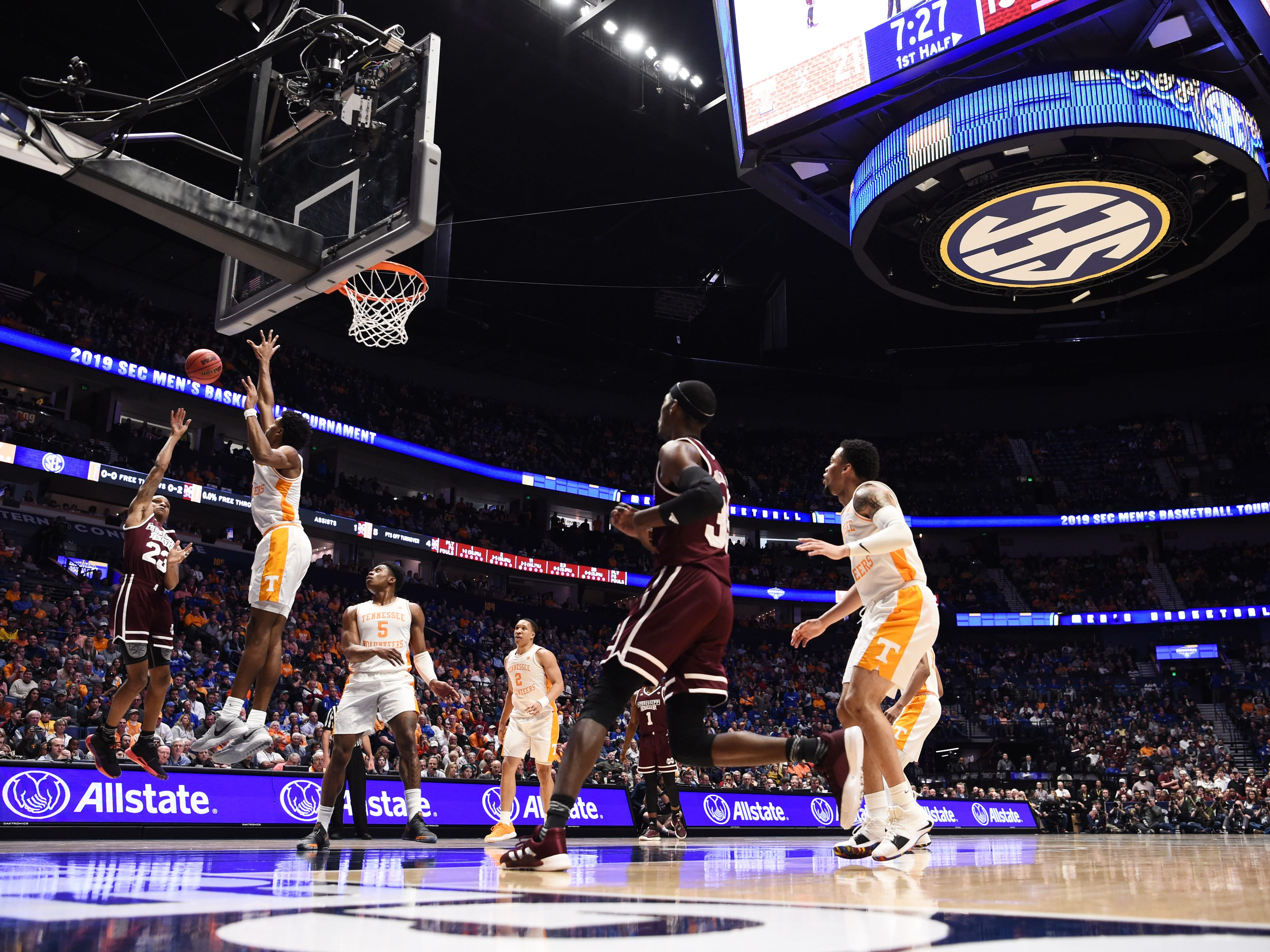Mississippi State guard Tyson Carter (23) shoots during the first half of the SEC Men's Basketball Tournament game against Tennessee at Bridgestone Arena in Nashville, Tenn., Friday, March 15, 2019.