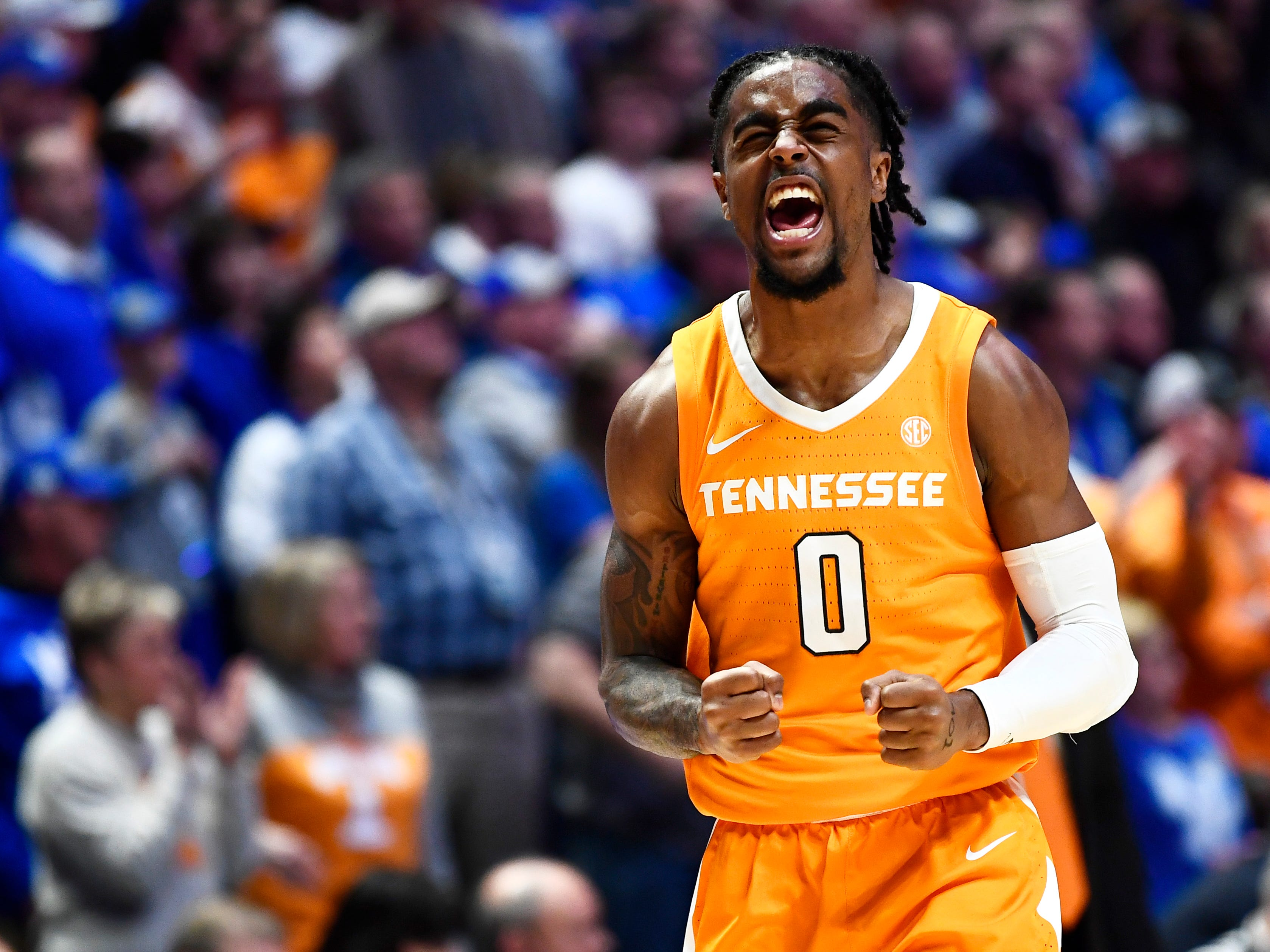 Tennessee guard Jordan Bone (0) reacts in the closing seconds in the team's win over Kentucky in the SEC Men's Basketball Tournament at Bridgestone Arena in Nashville, Tenn., Saturday, March 16, 2019.