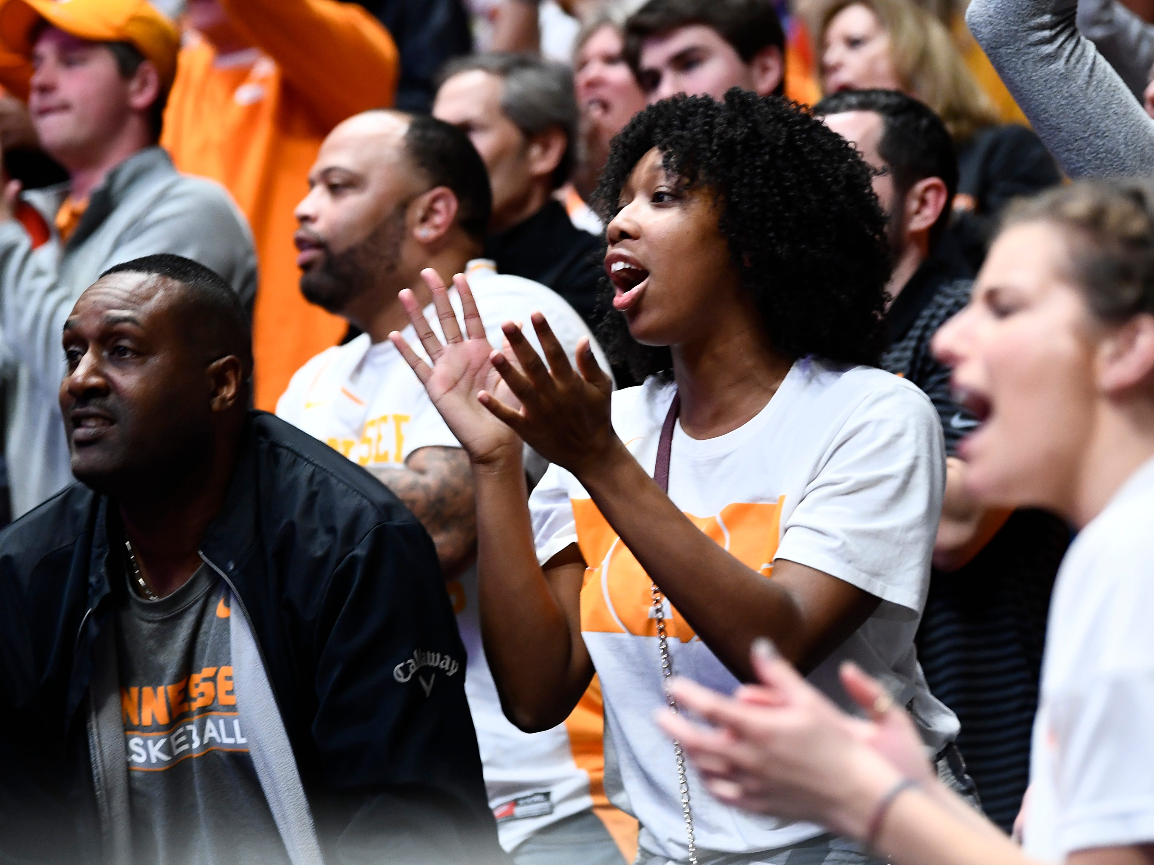UT fans cheer for the team during the second half of the SEC Men's Basketball Tournament game against Mississippi State at Bridgestone Arena in Nashville, Tenn., Friday, March 15, 2019.