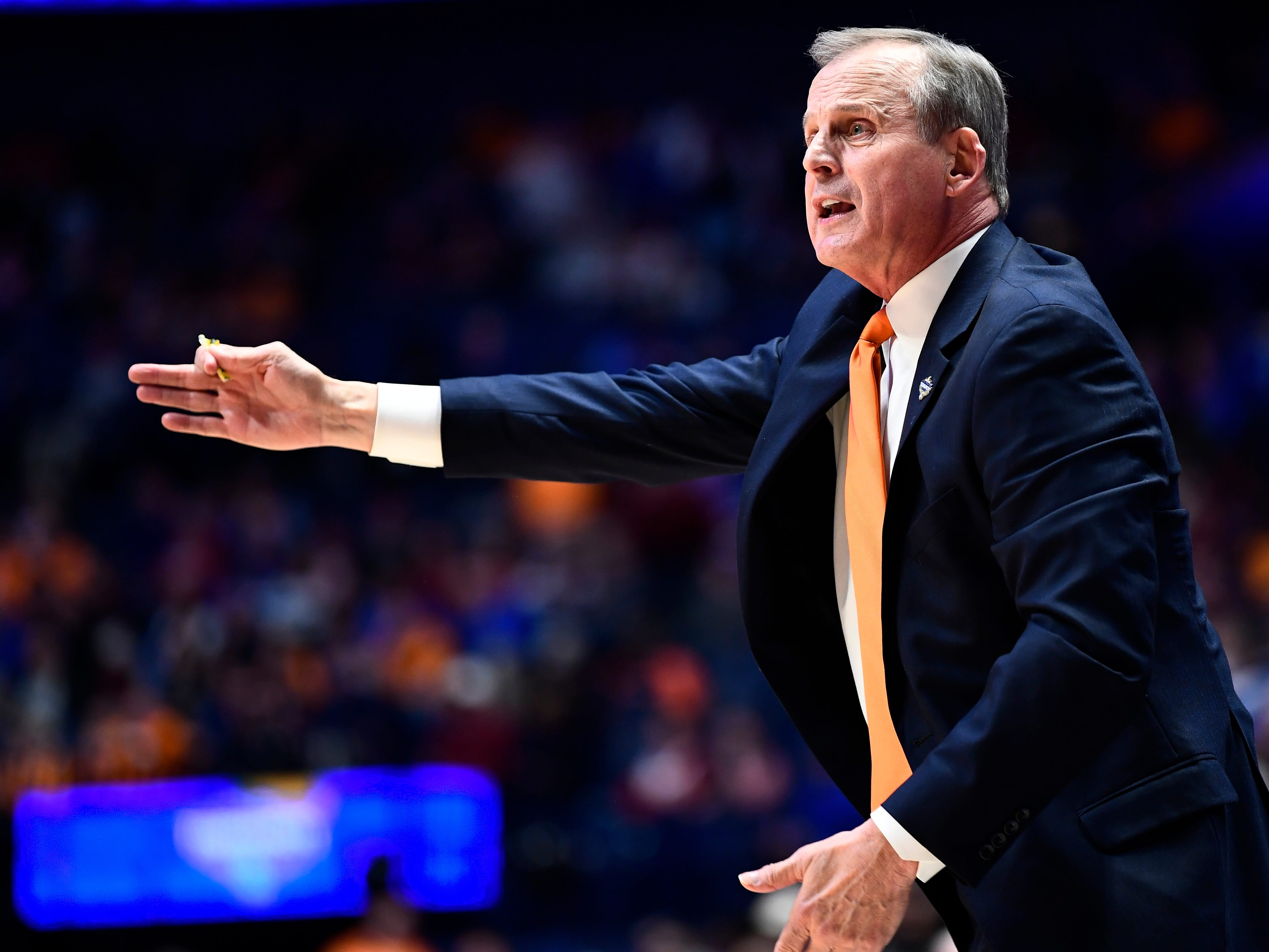Tennessee head coach Rick Barnes instructs his team during the first half of the SEC Men's Basketball Tournament game against Mississippi State at Bridgestone Arena in Nashville, Tenn., Friday, March 15, 2019.