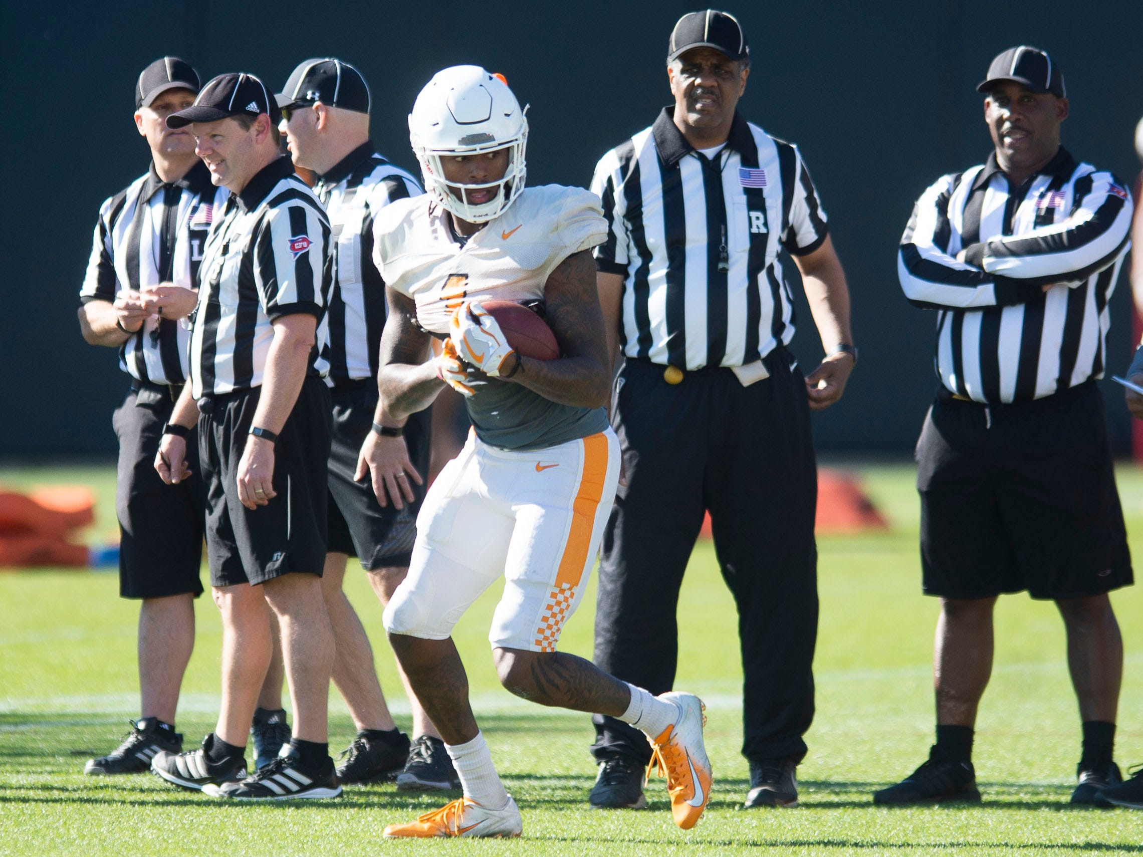 Tennessee wide receiver Marquez Callaway (1) at football practice on Friday, March 15, 2019.
