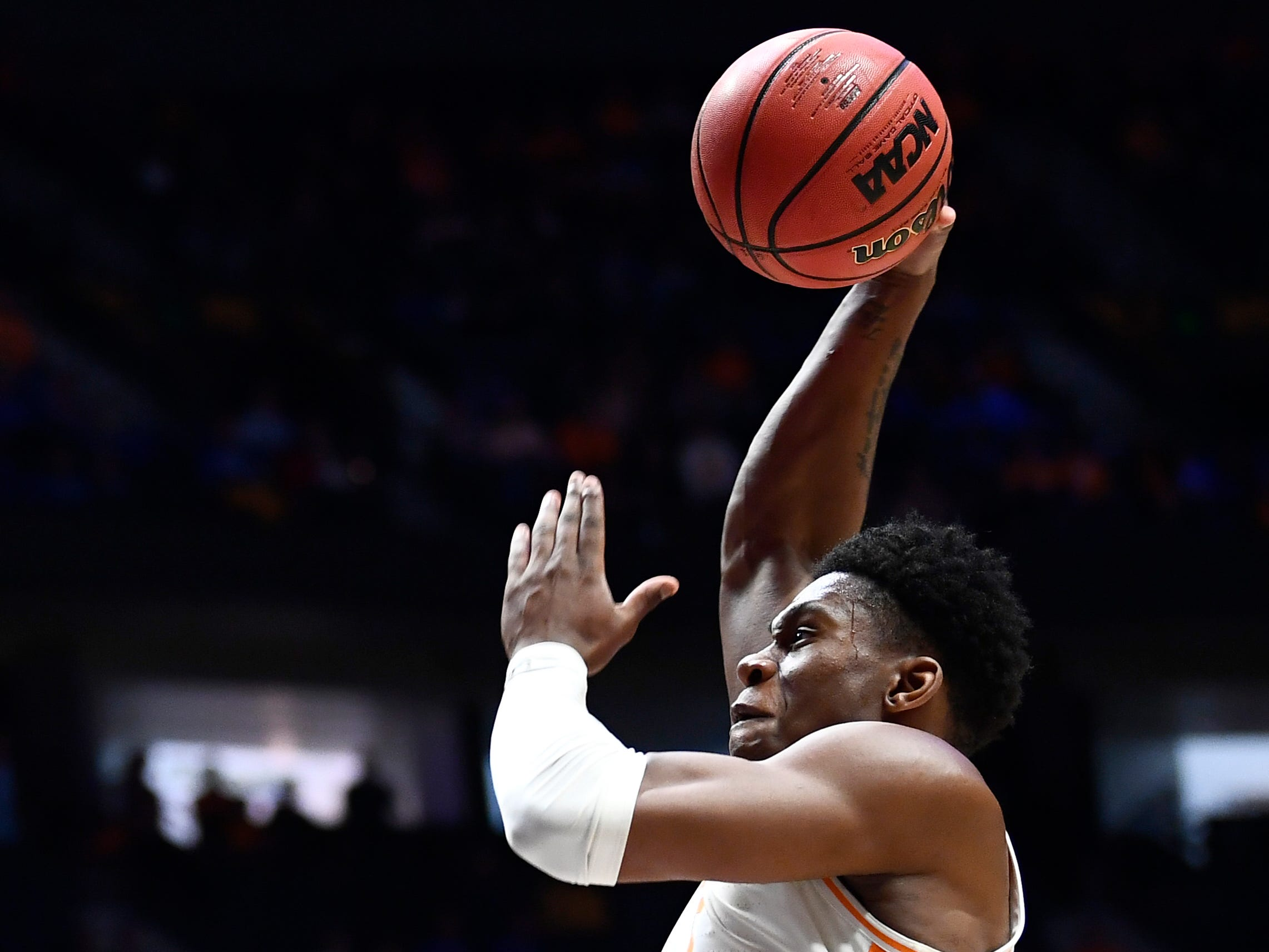 Tennessee guard Admiral Schofield (5) dunks over Mississippi State guard Robert Woodard (12) during the second half of the SEC Men's Basketball Tournament game at Bridgestone Arena in Nashville, Tenn., Friday, March 15, 2019.