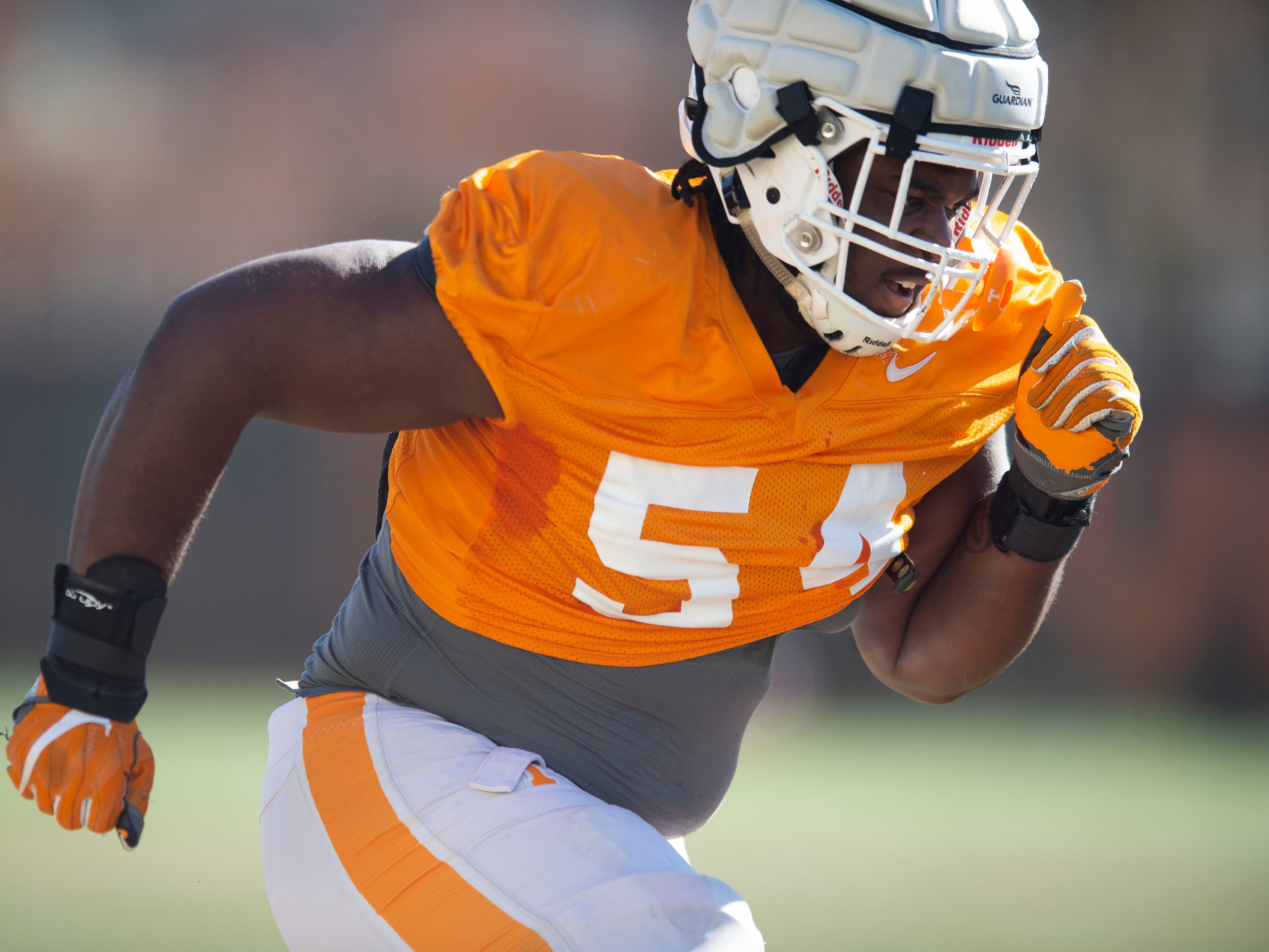 Tennessee defensive lineman Kingston Harris (54) during football practice on Friday, March 15, 2019.