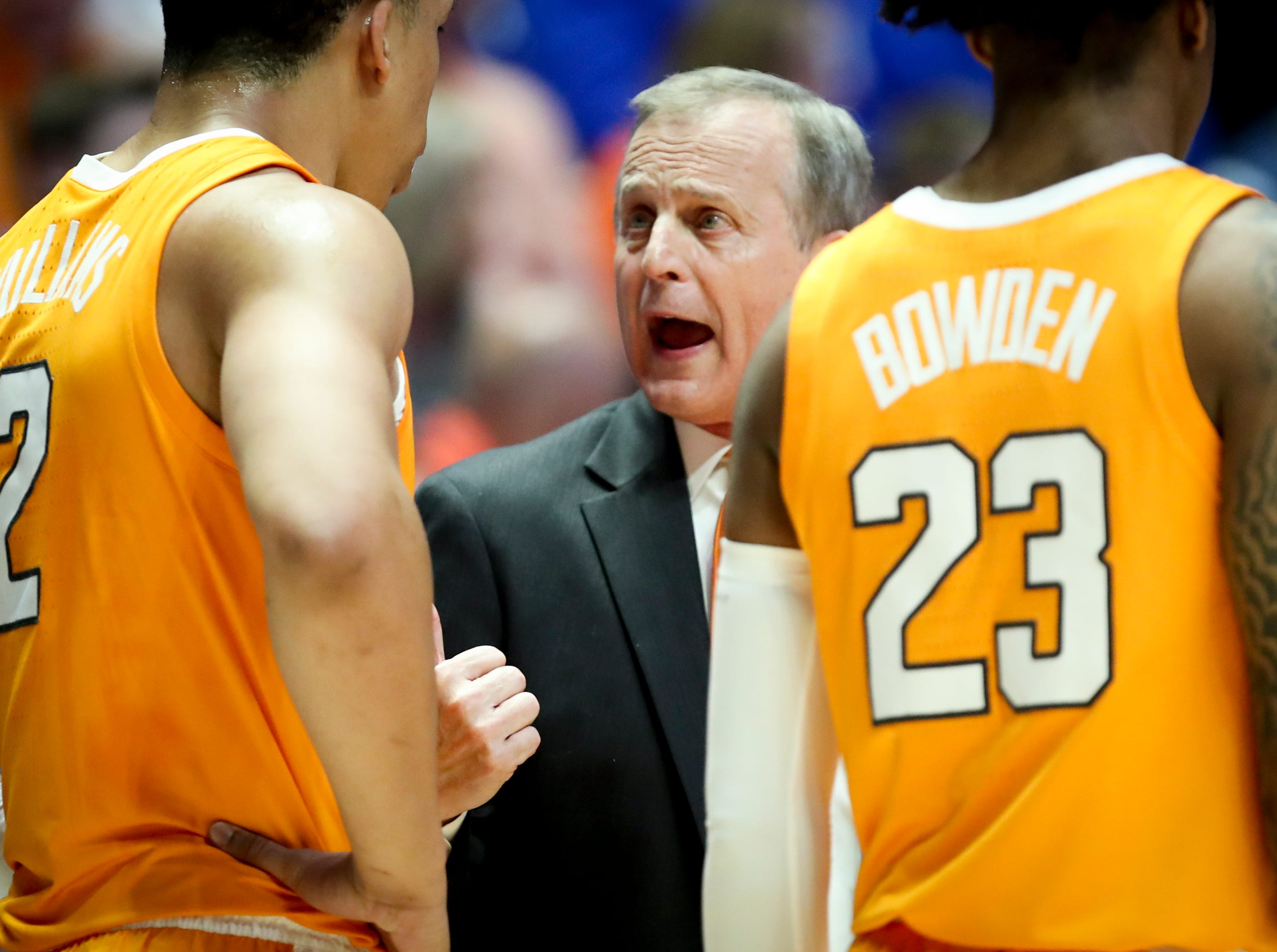 Tennessee head coach Rick Barnes works with his team during the first half of the SEC Men's Basketball Tournament semifinal game against Kentucky at Bridgestone Arena in Nashville, Tenn., Saturday, March 16, 2019.