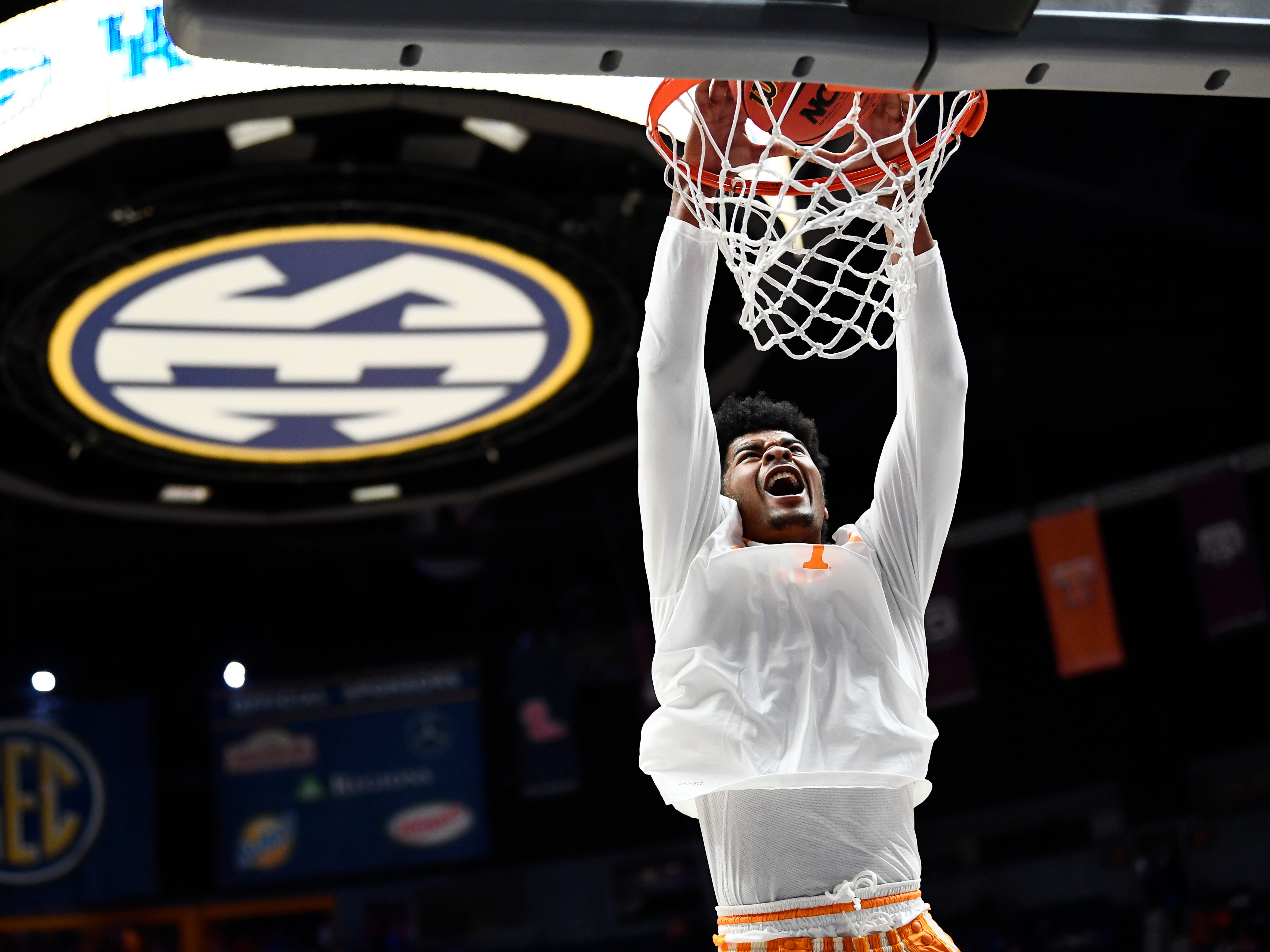 Tennessee guard Jordan Bowden (23) warms up before the SEC Men's Basketball Tournament game against Mississippi State at Bridgestone Arena in Nashville, Tenn., Friday, March 15, 2019.